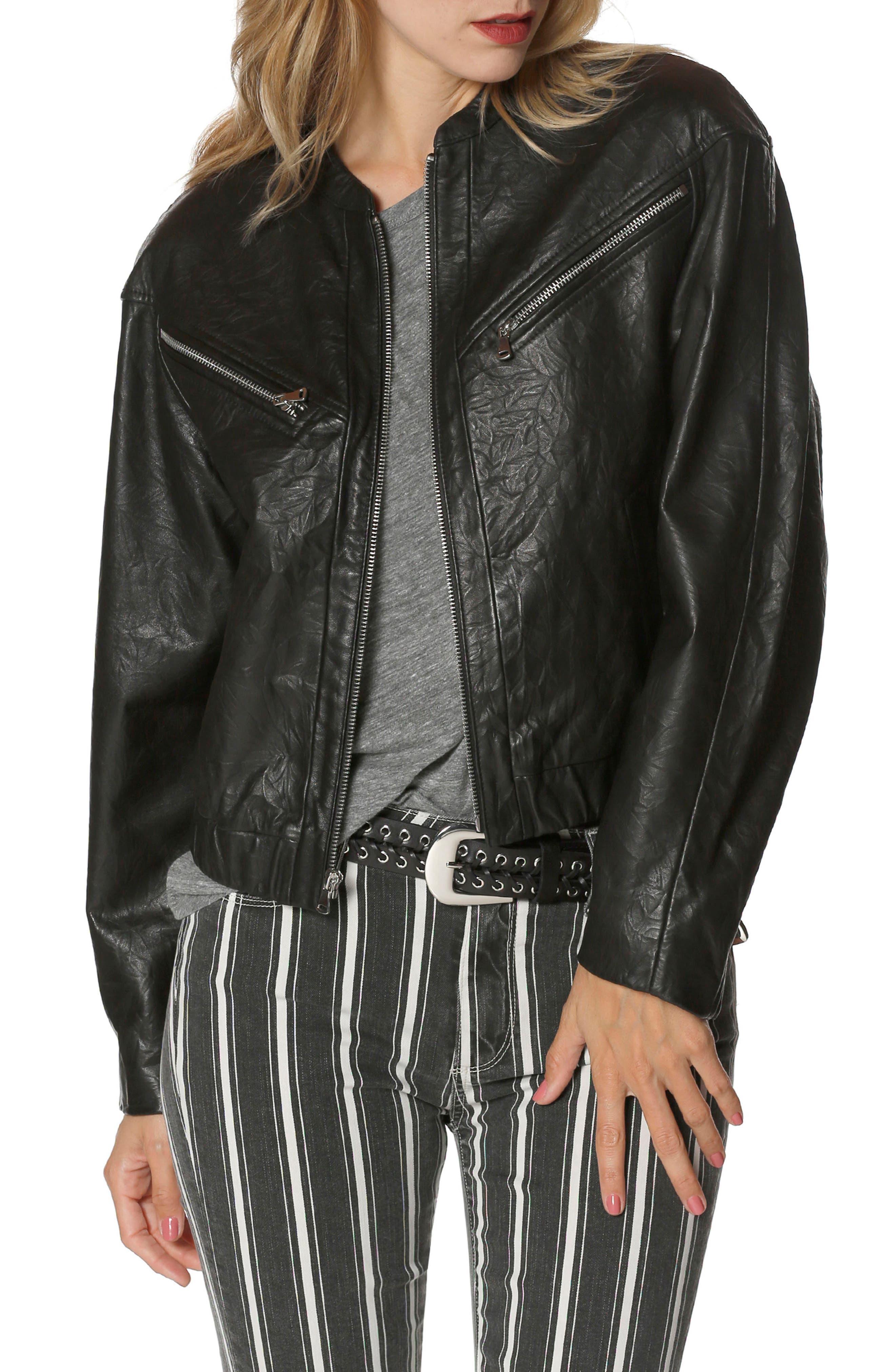 Giana Leather Moto Jacket,                             Main thumbnail 1, color,                             Black