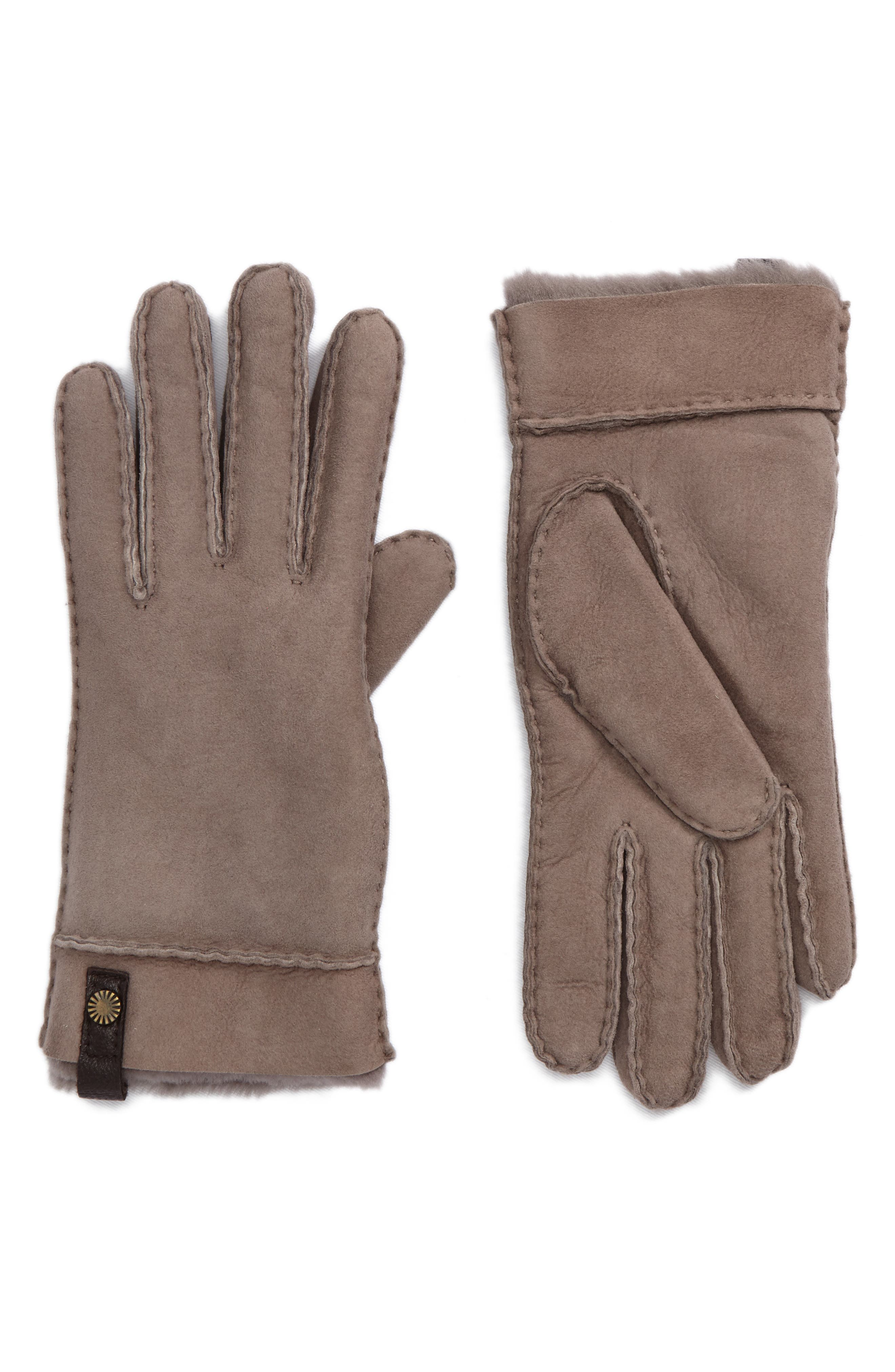 Tenney Genuine Shearling Gloves,                             Main thumbnail 1, color,                             Stormy Grey M