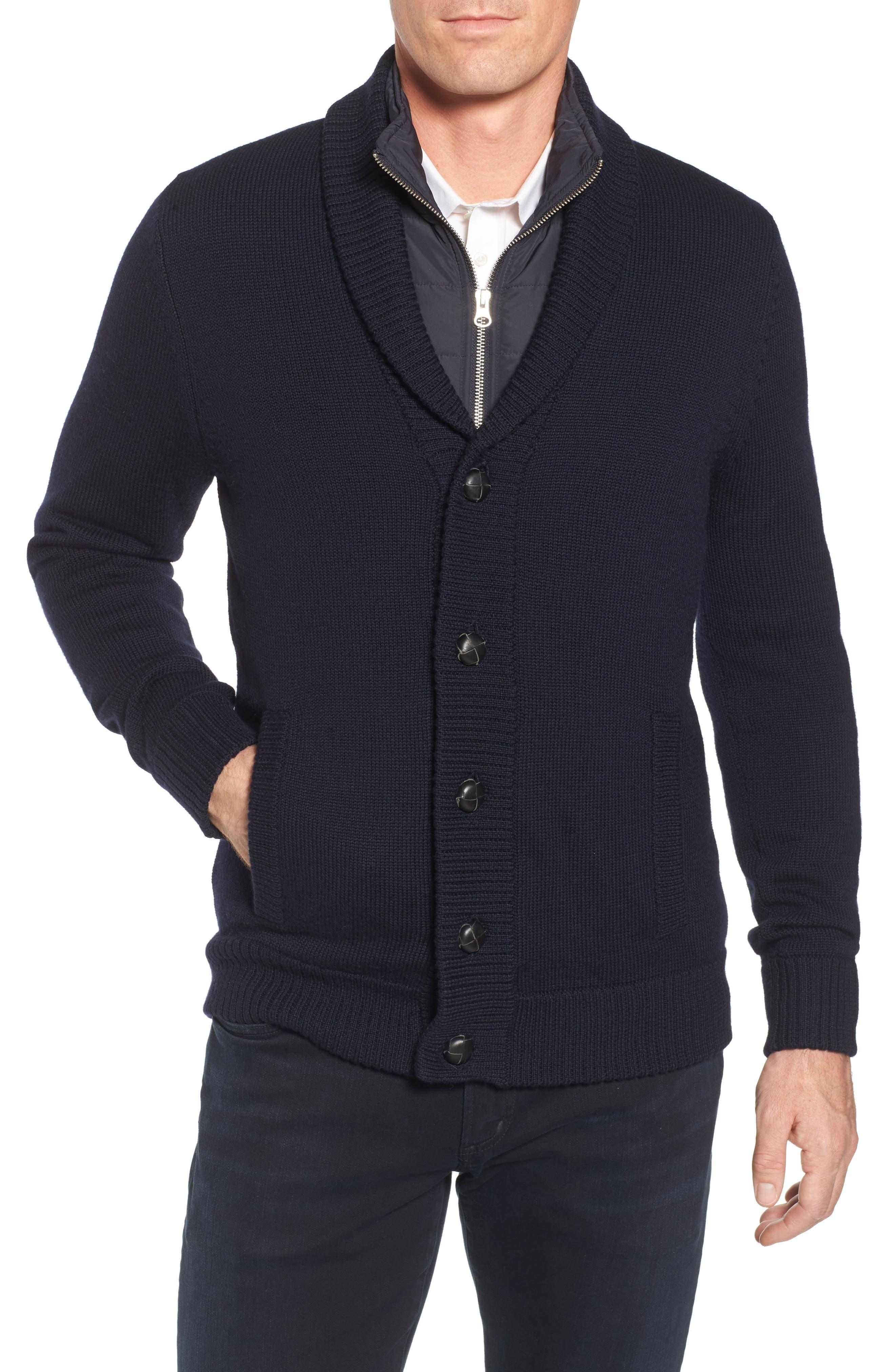 Wool Cardigan with Bib,                         Main,                         color, Navy Night