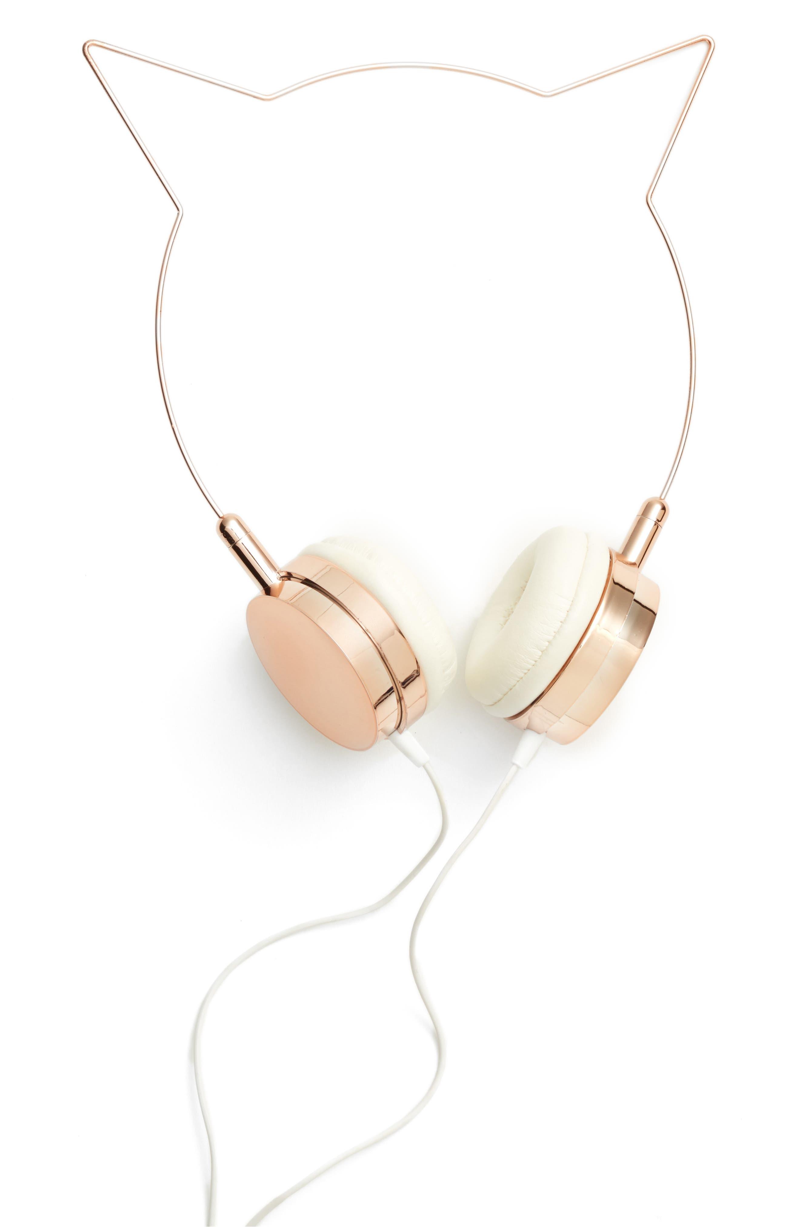 Cat Ear Headphones,                         Main,                         color, Rose Gold