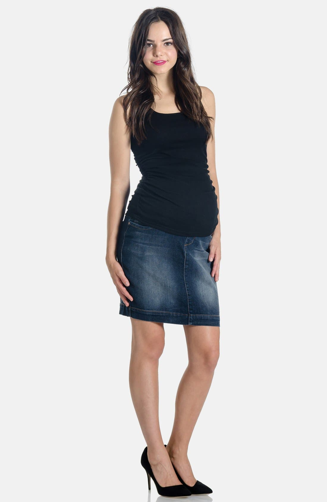Denim Maternity Skirt,                         Main,                         color, Dark Wash