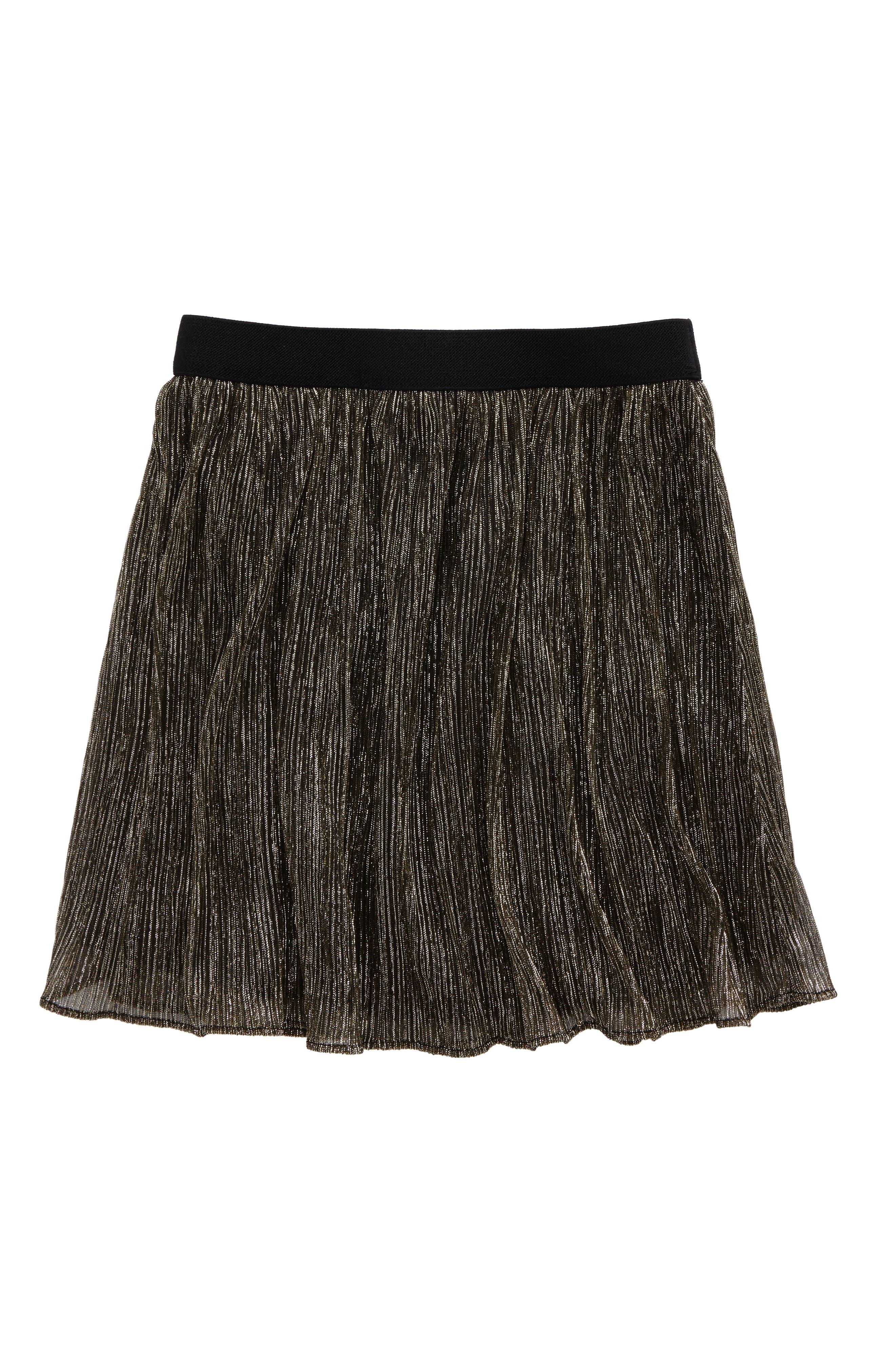 Pleated Metallic Skirt,                             Main thumbnail 1, color,                             Gold