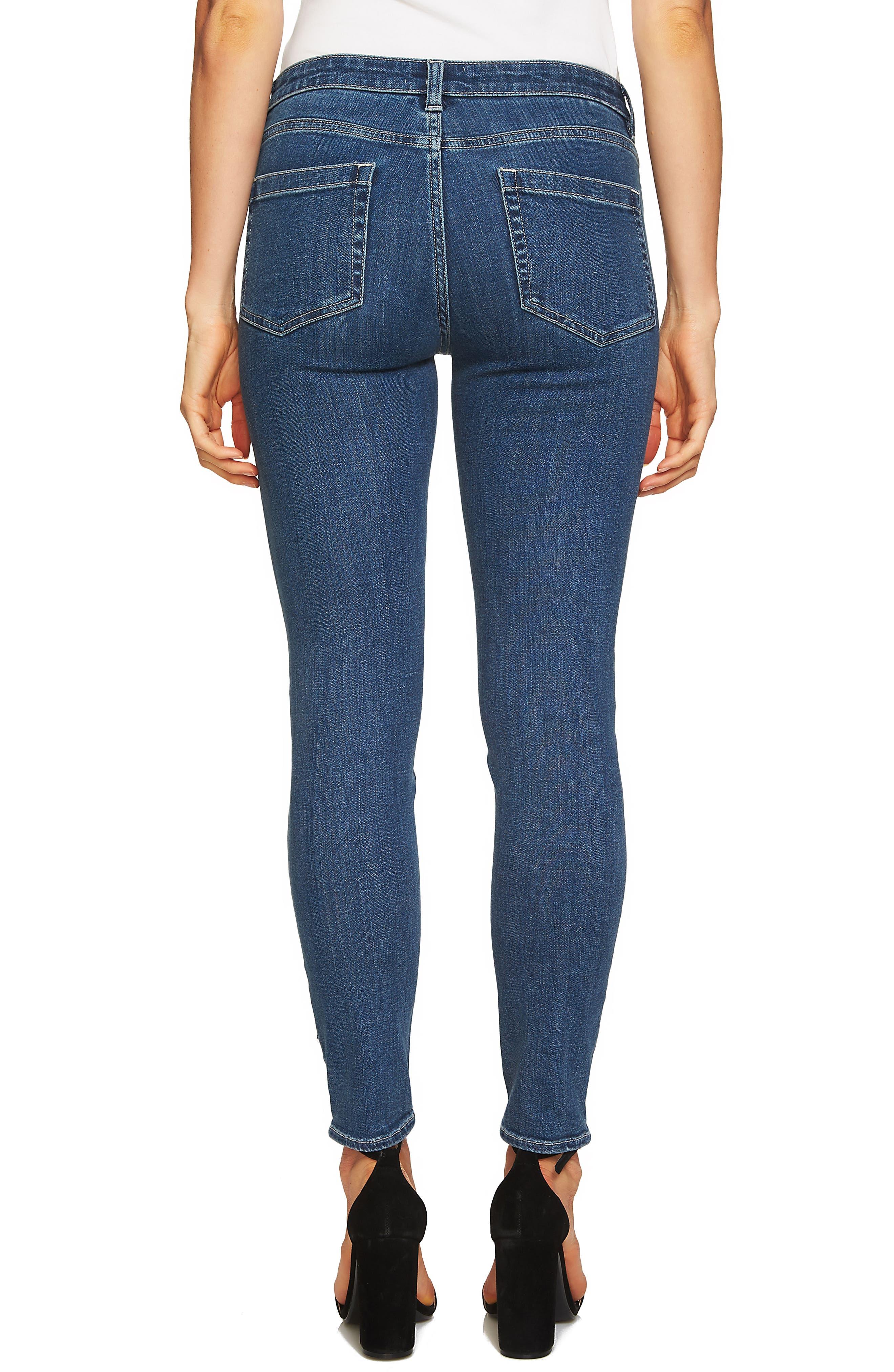 Polka Dot Skinny Jeans,                             Alternate thumbnail 2, color,                             Blue