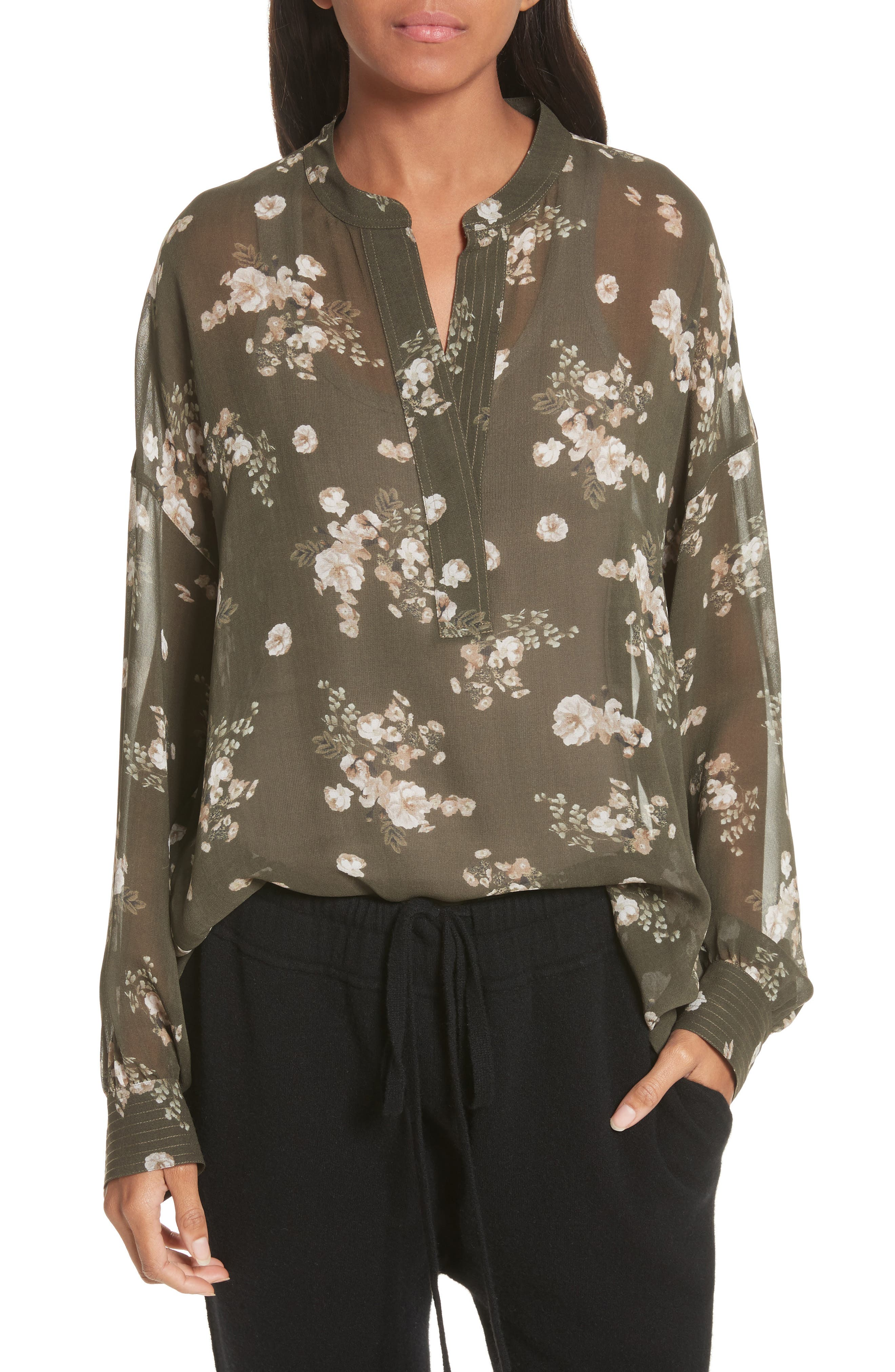 Shirred Floral Silk Blouse,                         Main,                         color, Olive