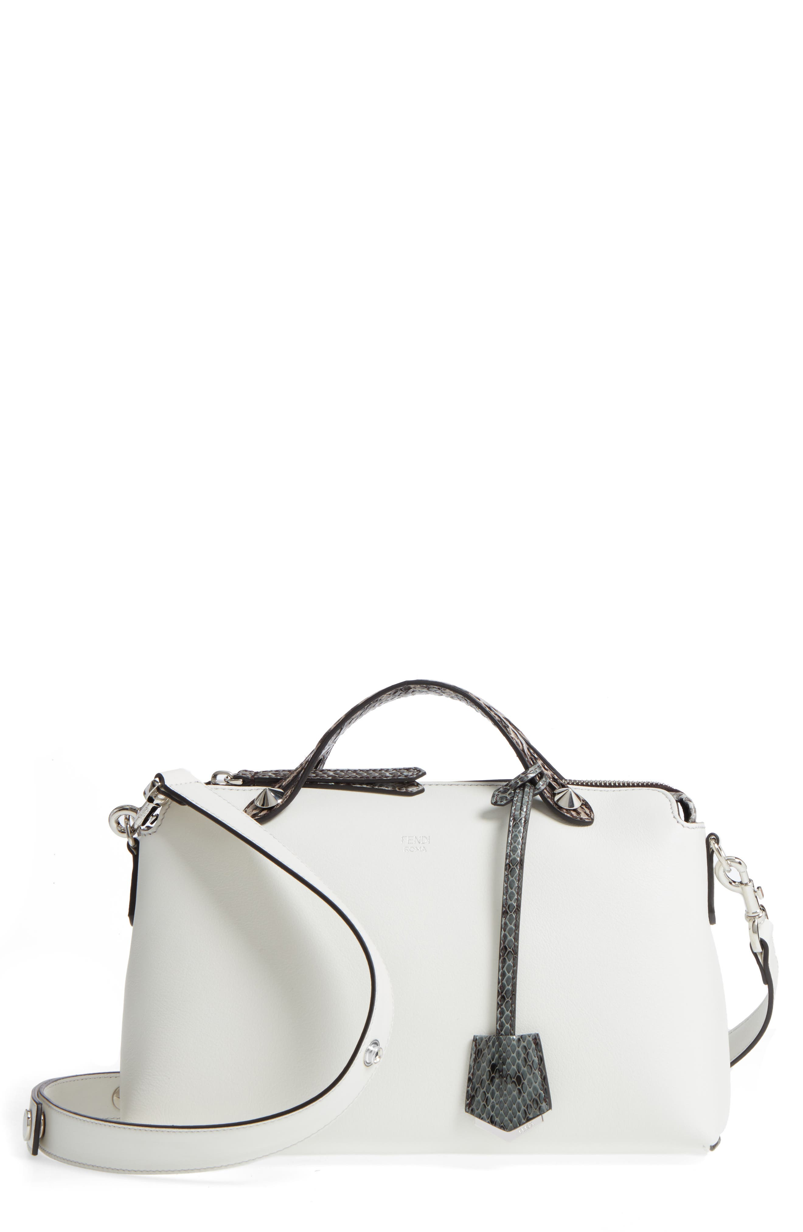 'Medium By the Way' Calfskin Leather Shoulder Bag with Genuine Snakeskin Trim,                             Main thumbnail 1, color,                             Ice