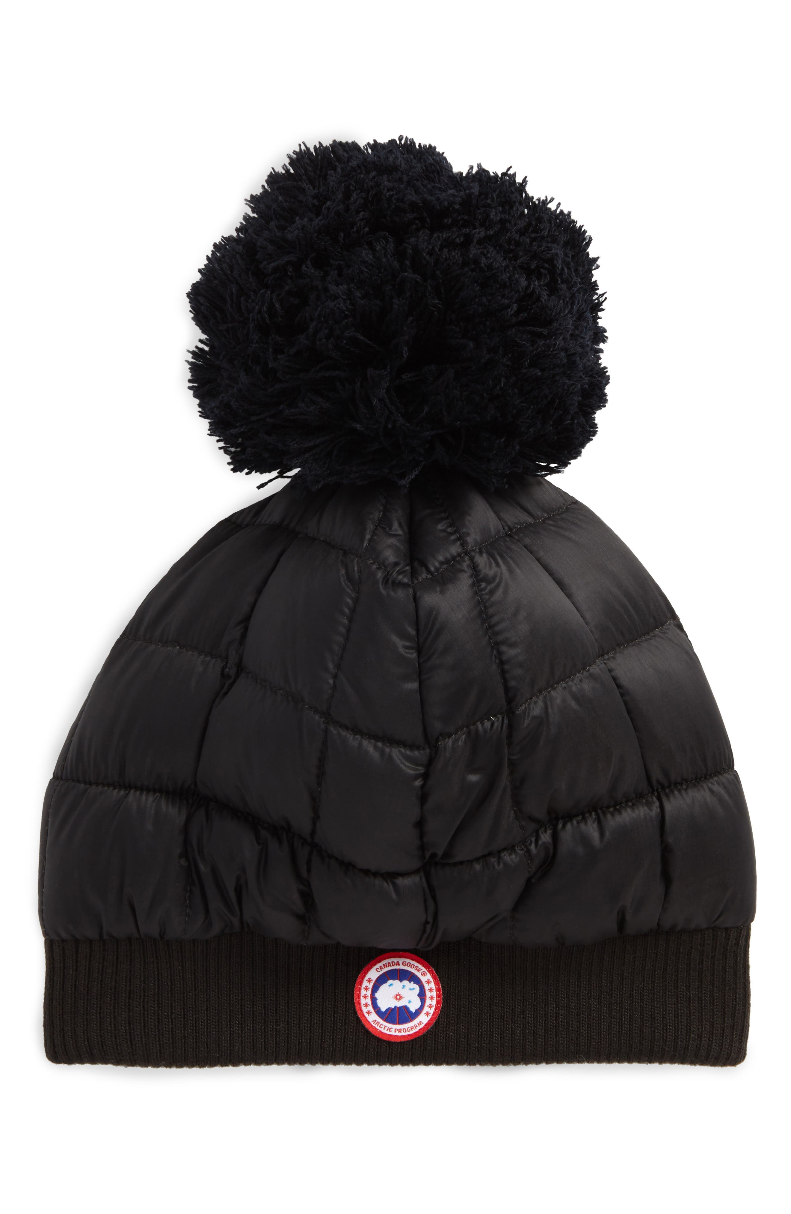 Quilted Down Pom Beanie,                         Main,                         color, Black