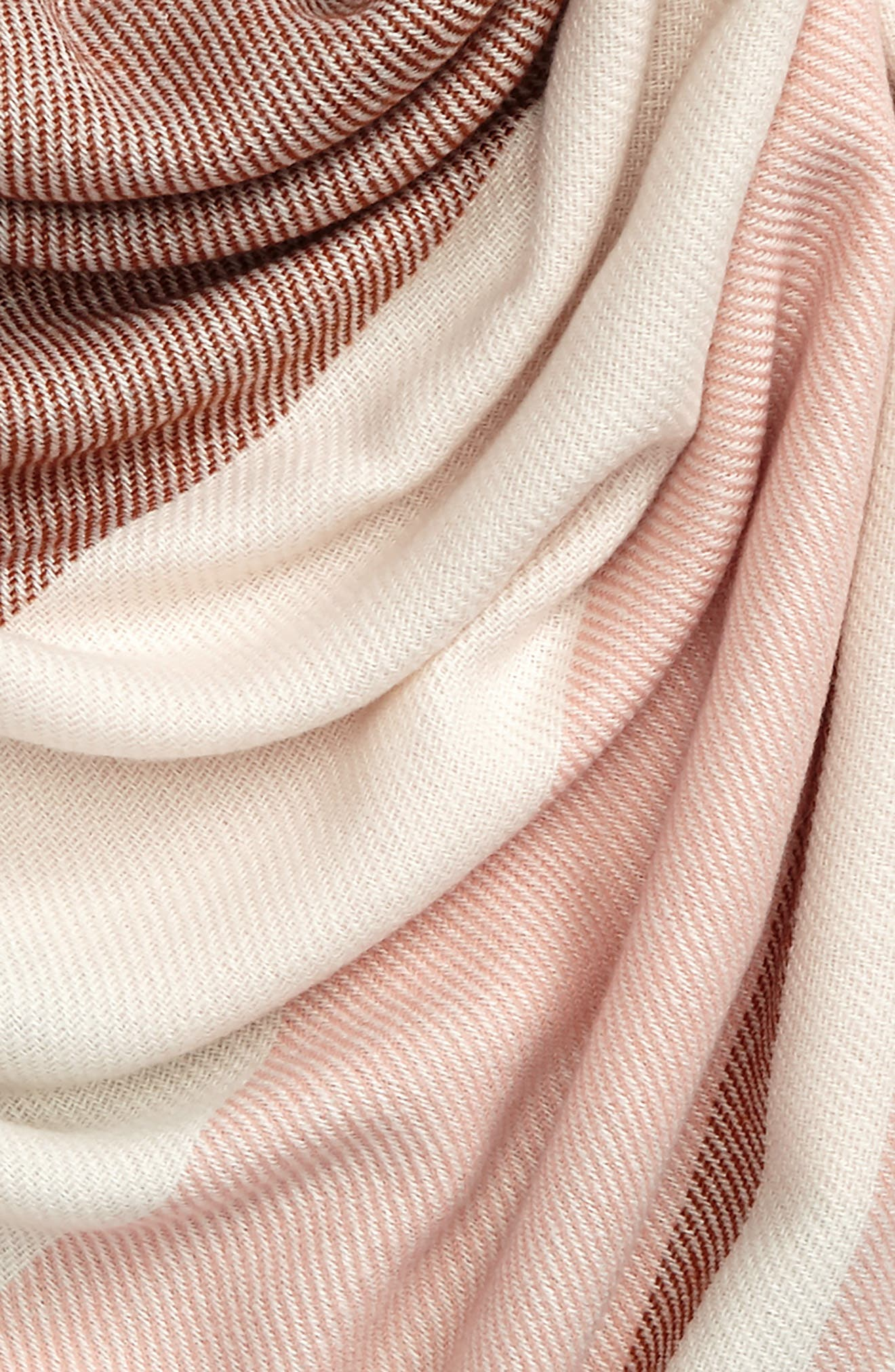 Colorblock Blanket Scarf,                             Alternate thumbnail 4, color,                             Cream/ Pink/ Bison