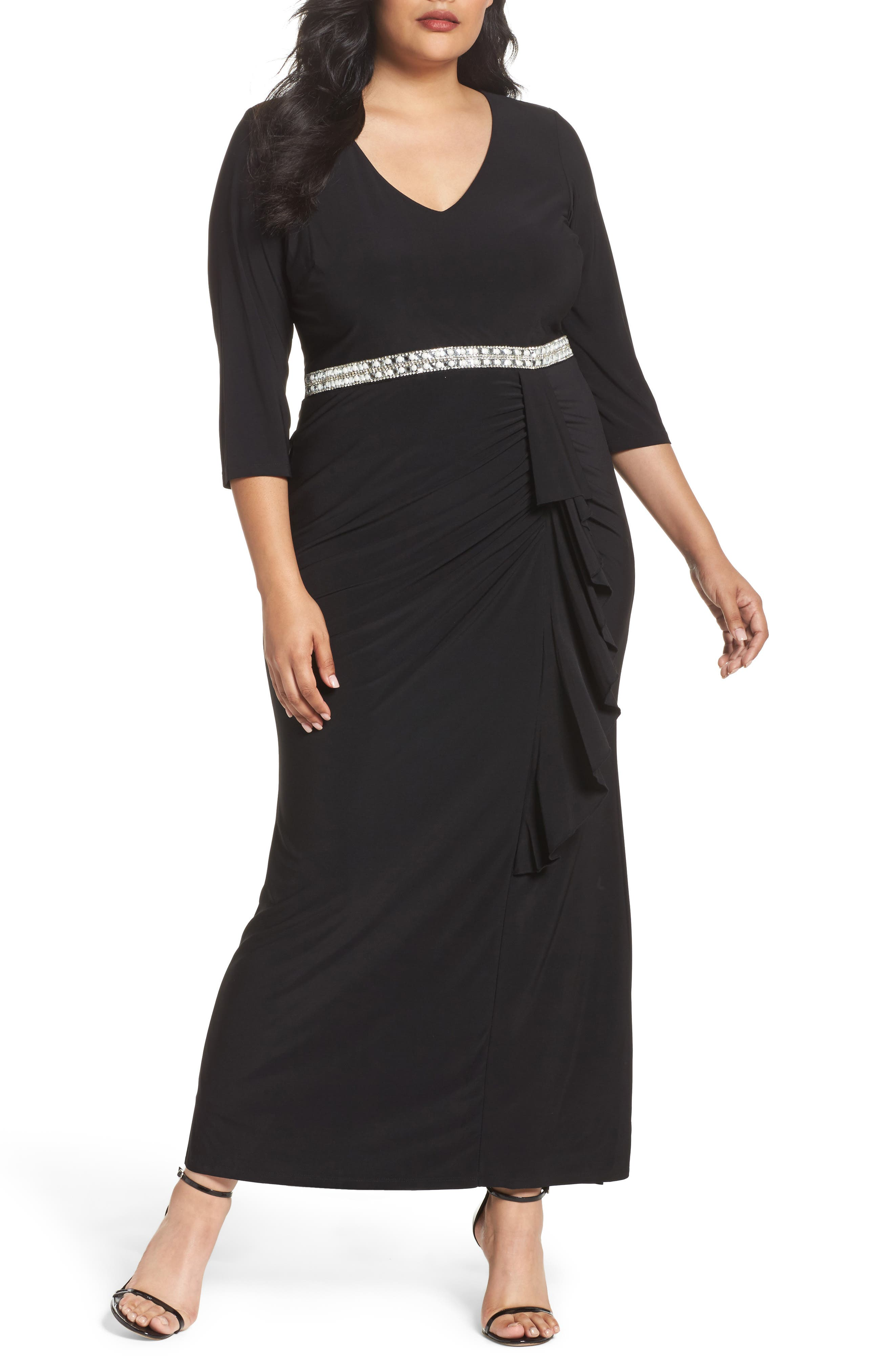 Embellished A-Line Jersey Gown,                             Main thumbnail 1, color,                             Black