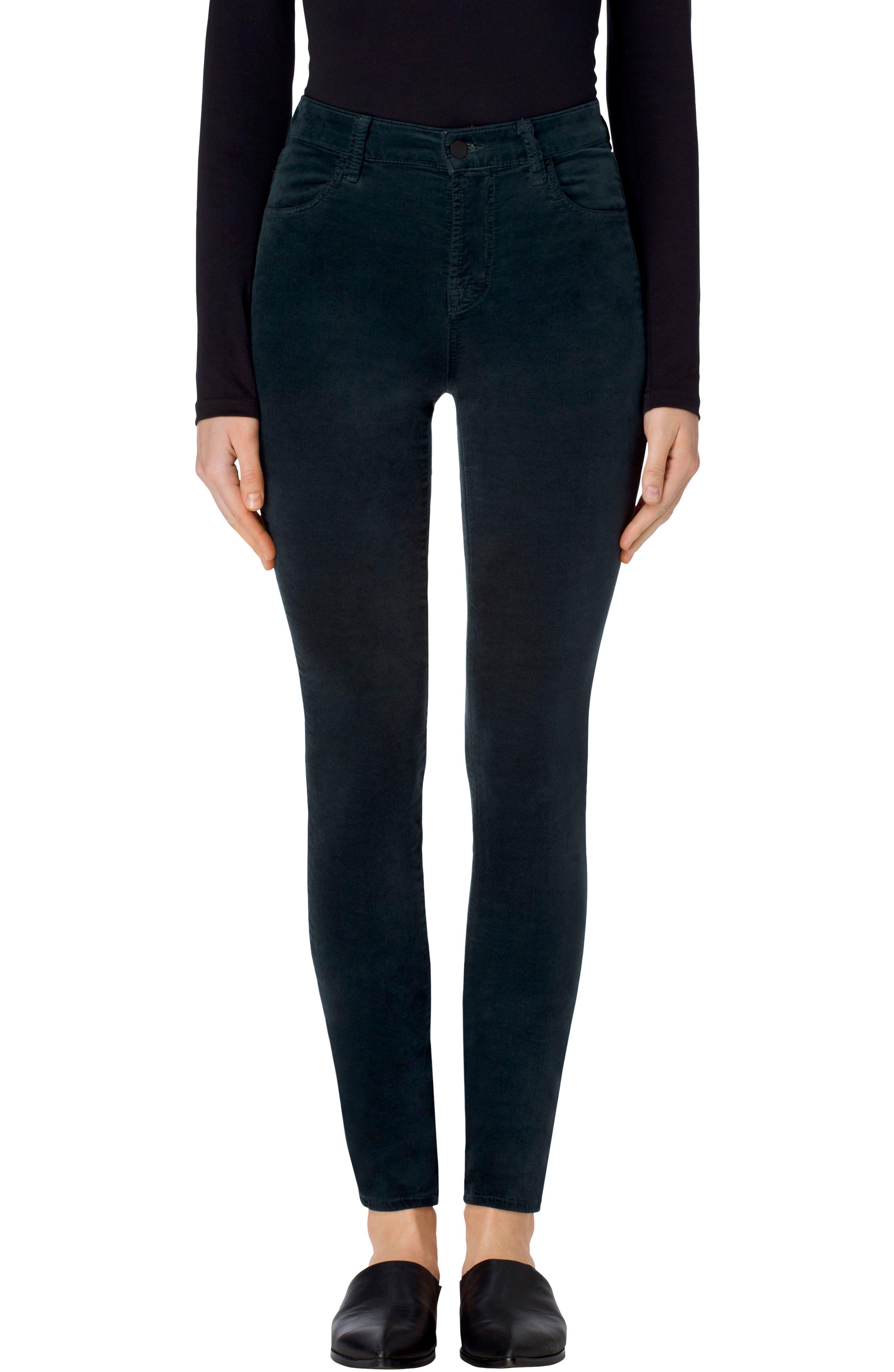 Maria High Waist Velvet Skinny Jeans,                         Main,                         color, Moorland