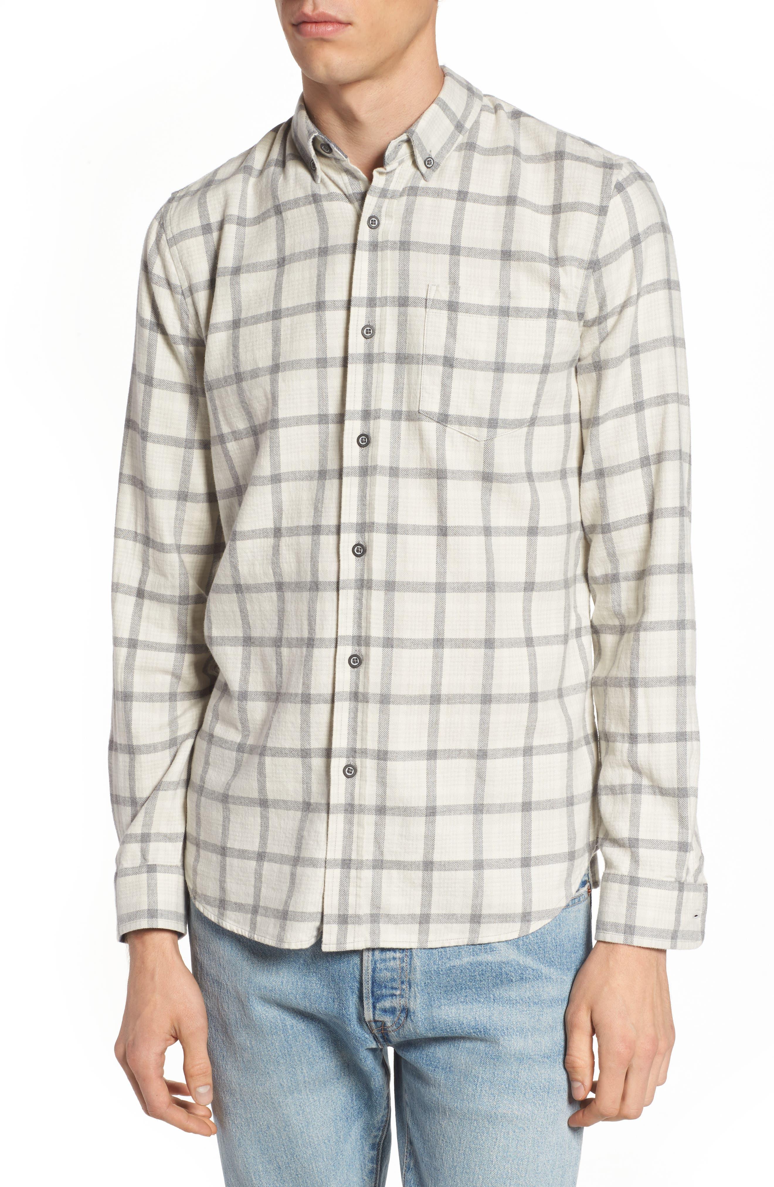 Grady Slim Fit Plaid Sport Shirt,                         Main,                         color, Moon Glade/ Heather Grey