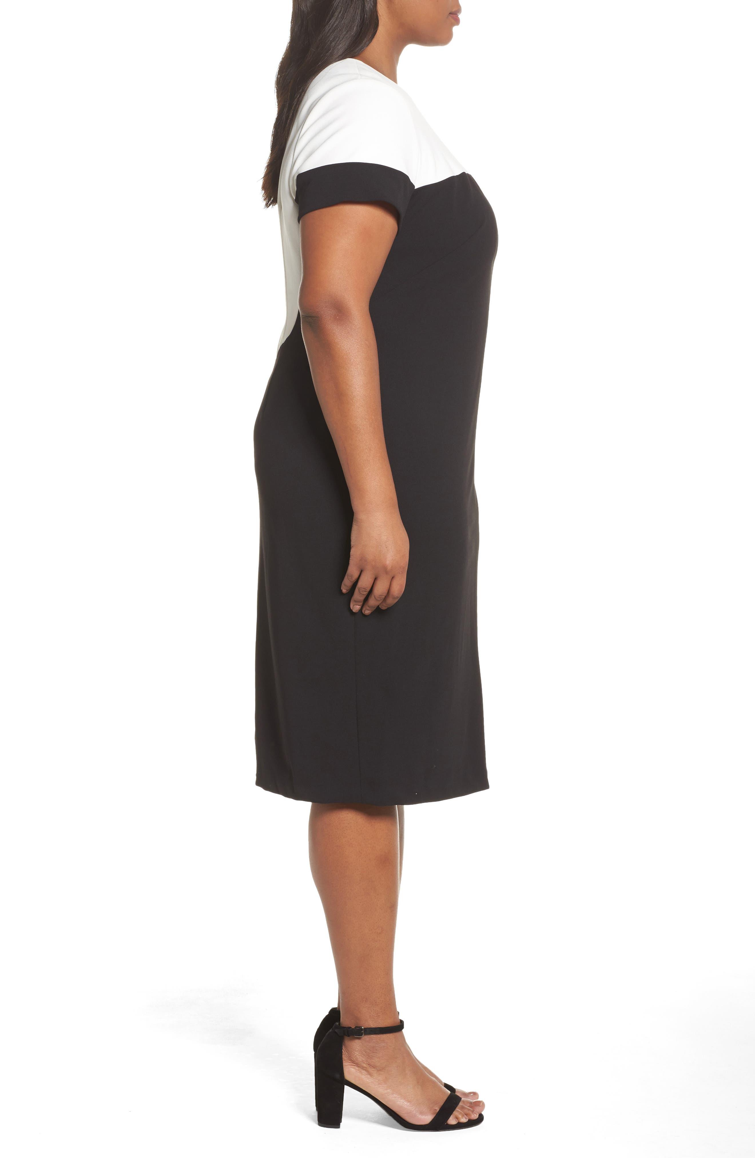Stretch Crepe Sheath Dress,                             Alternate thumbnail 3, color,                             Black/ Ivory