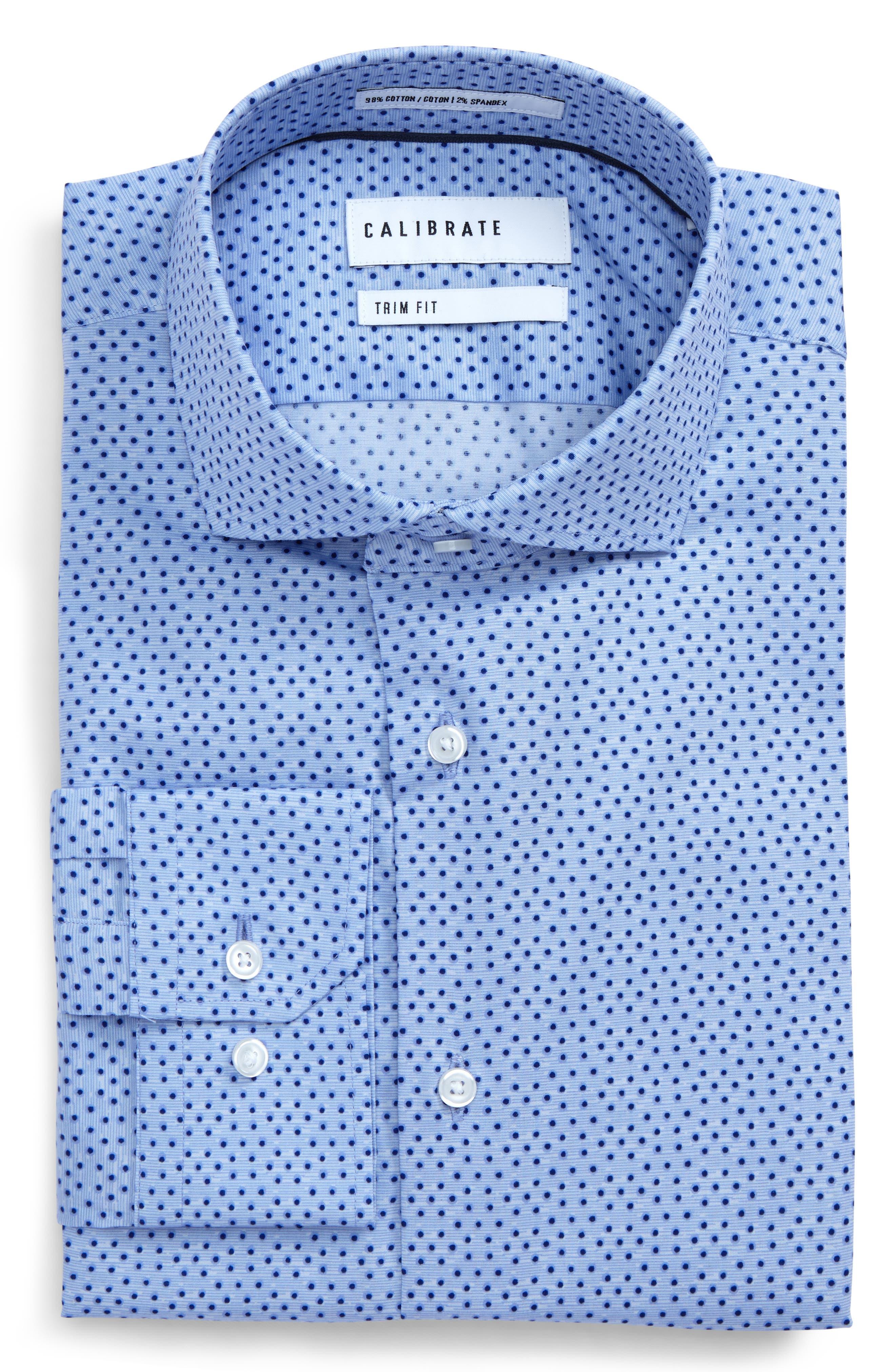 Calibrate Trim Fit Dot Print Dress Shirt