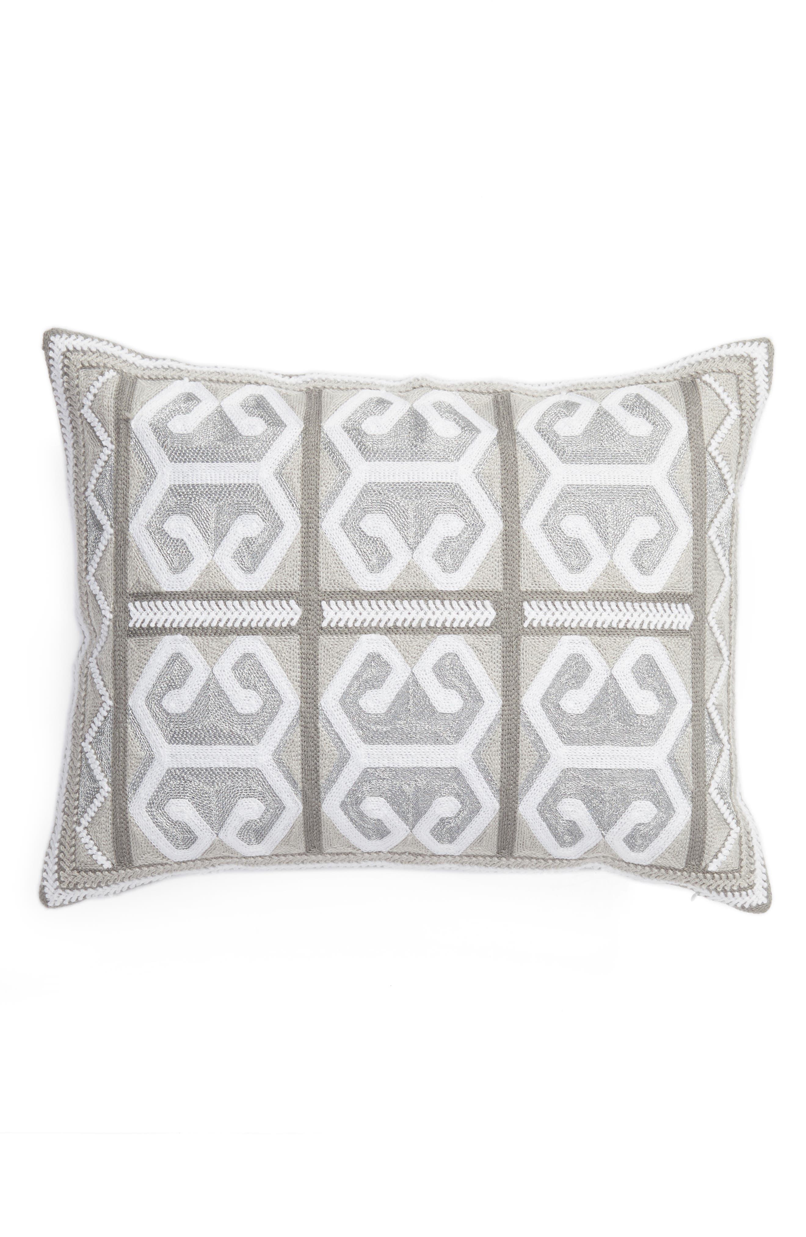 Caleb Crewel Stitch Accent Pillow,                         Main,                         color, Silver