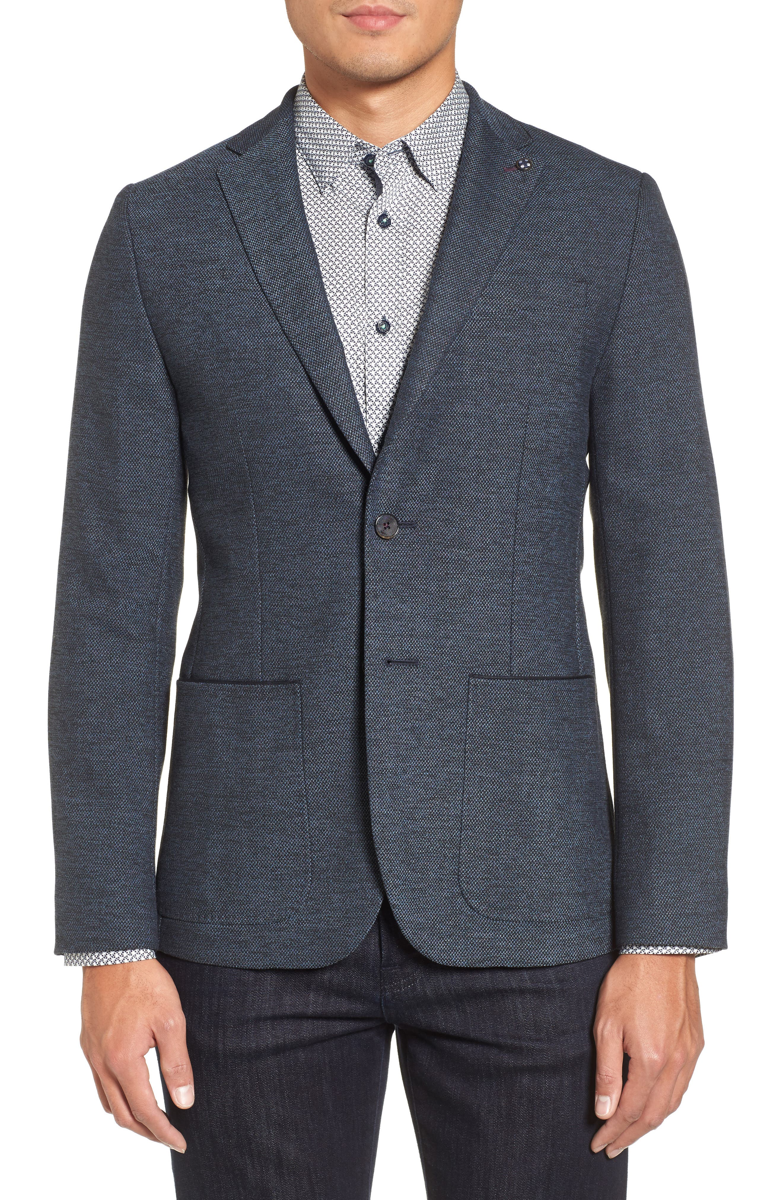 Port Slim Fit Jacket,                             Main thumbnail 1, color,                             Blue