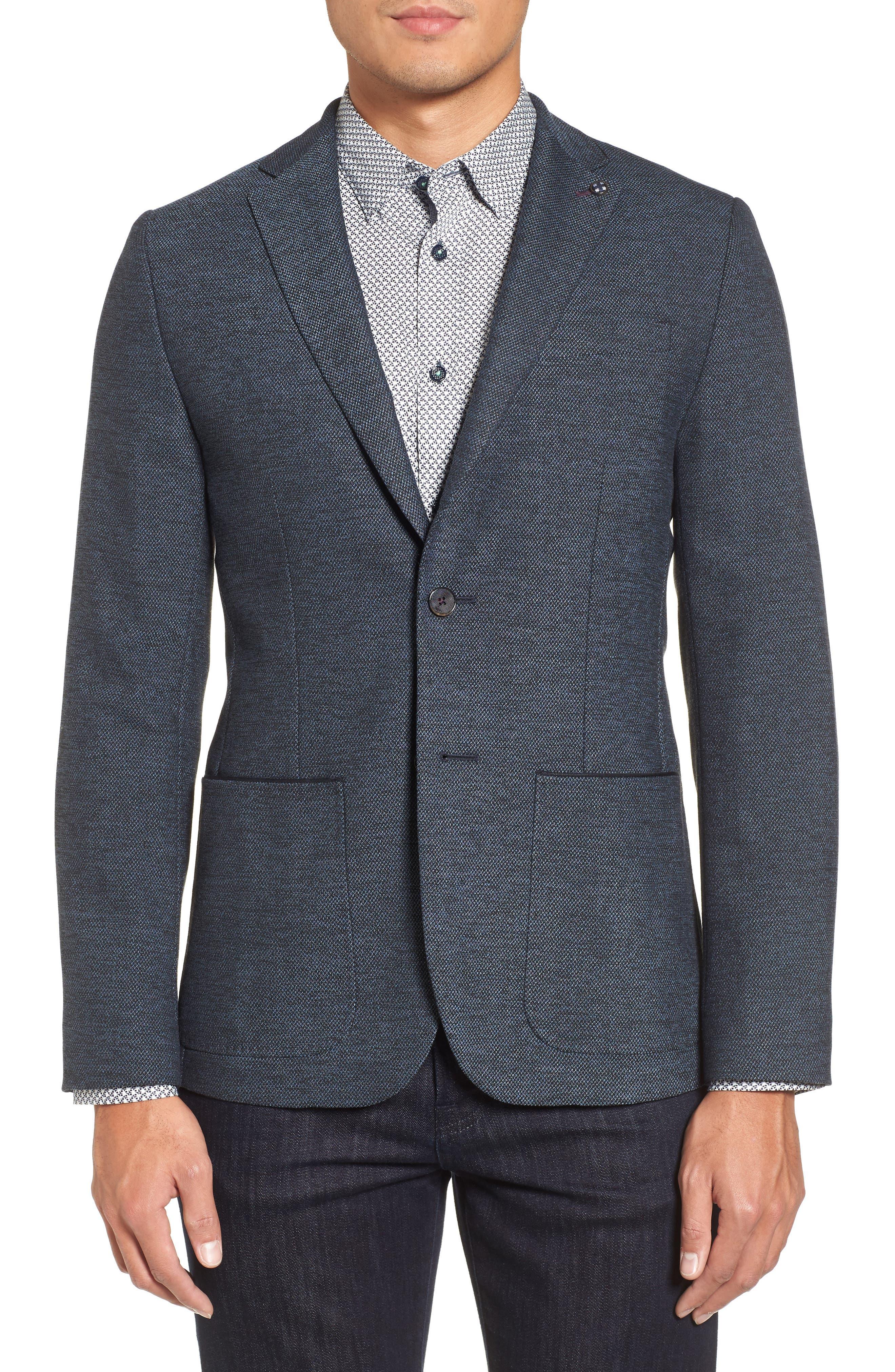Port Slim Fit Jacket,                         Main,                         color, Blue