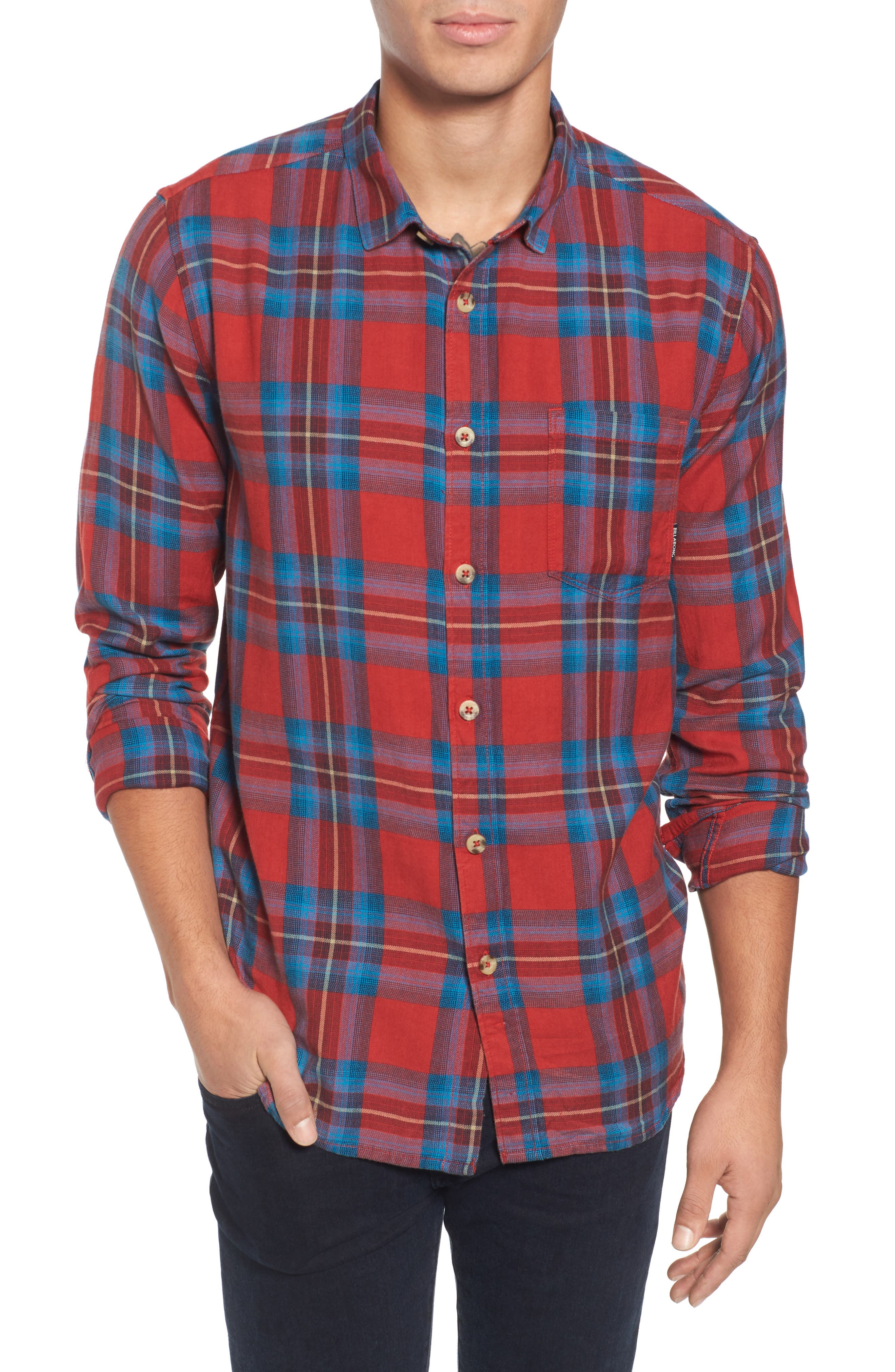 Freemont Flannel Shirt,                         Main,                         color, Red