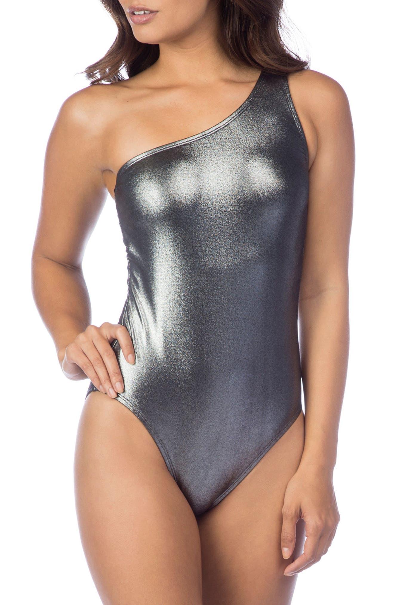 Mio One-Shoulder One-Piece Swimsuit,                             Main thumbnail 1, color,                             Gunmetal