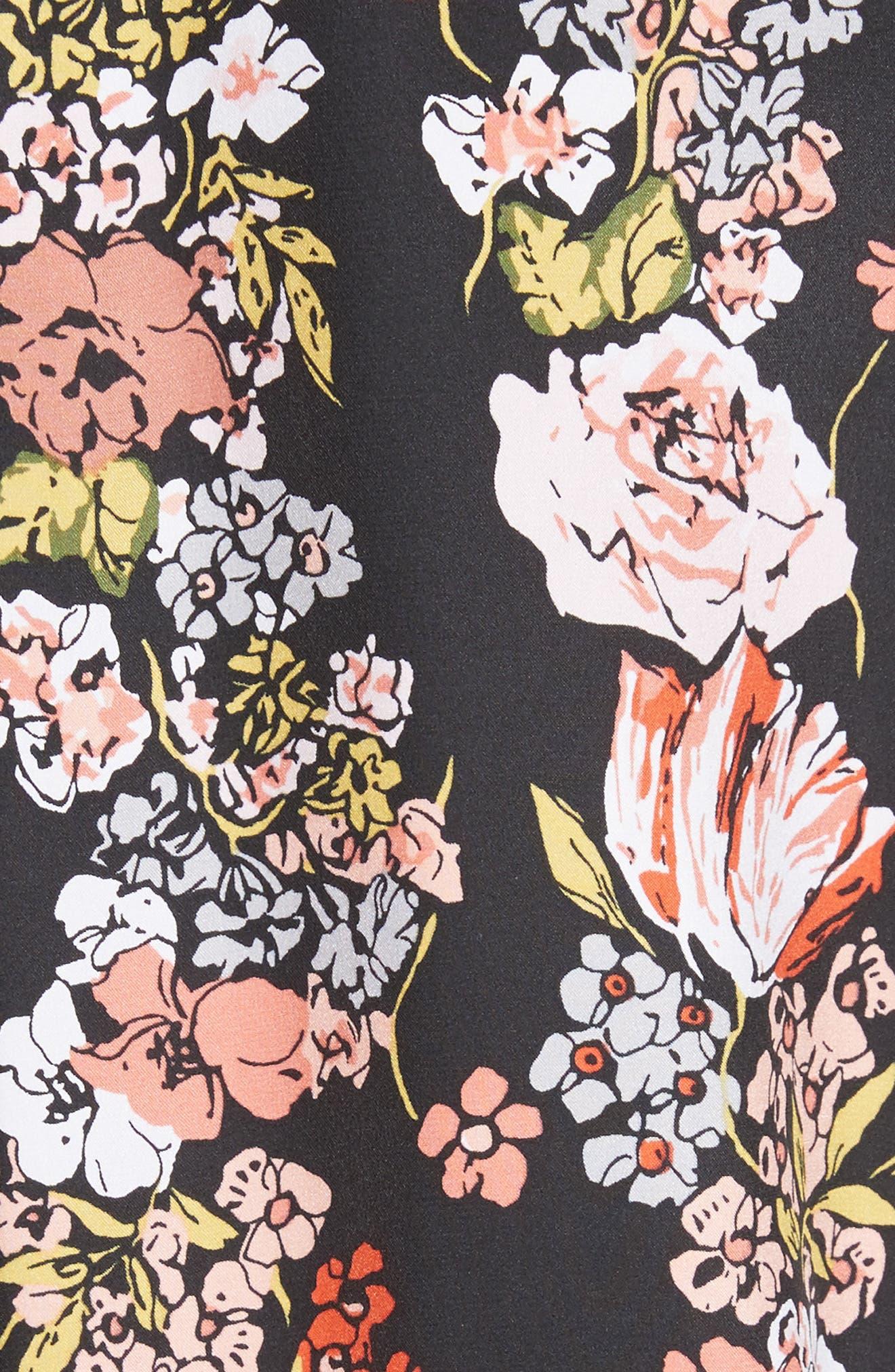 Essential Floral Silk Shirt,                             Alternate thumbnail 5, color,                             True Black Multi