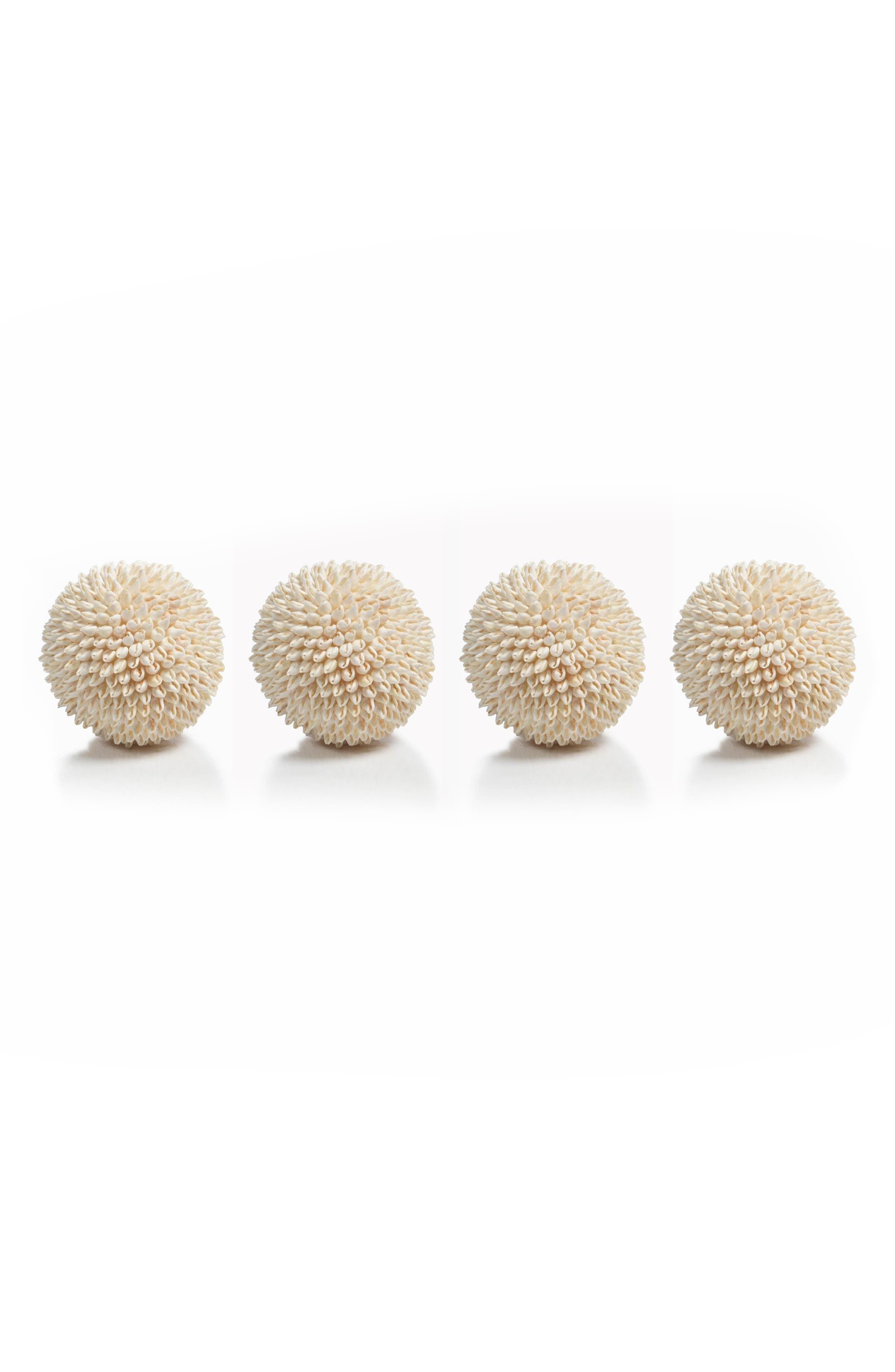 Palay Set of 4 Shell Decorations,                         Main,                         color, Beige