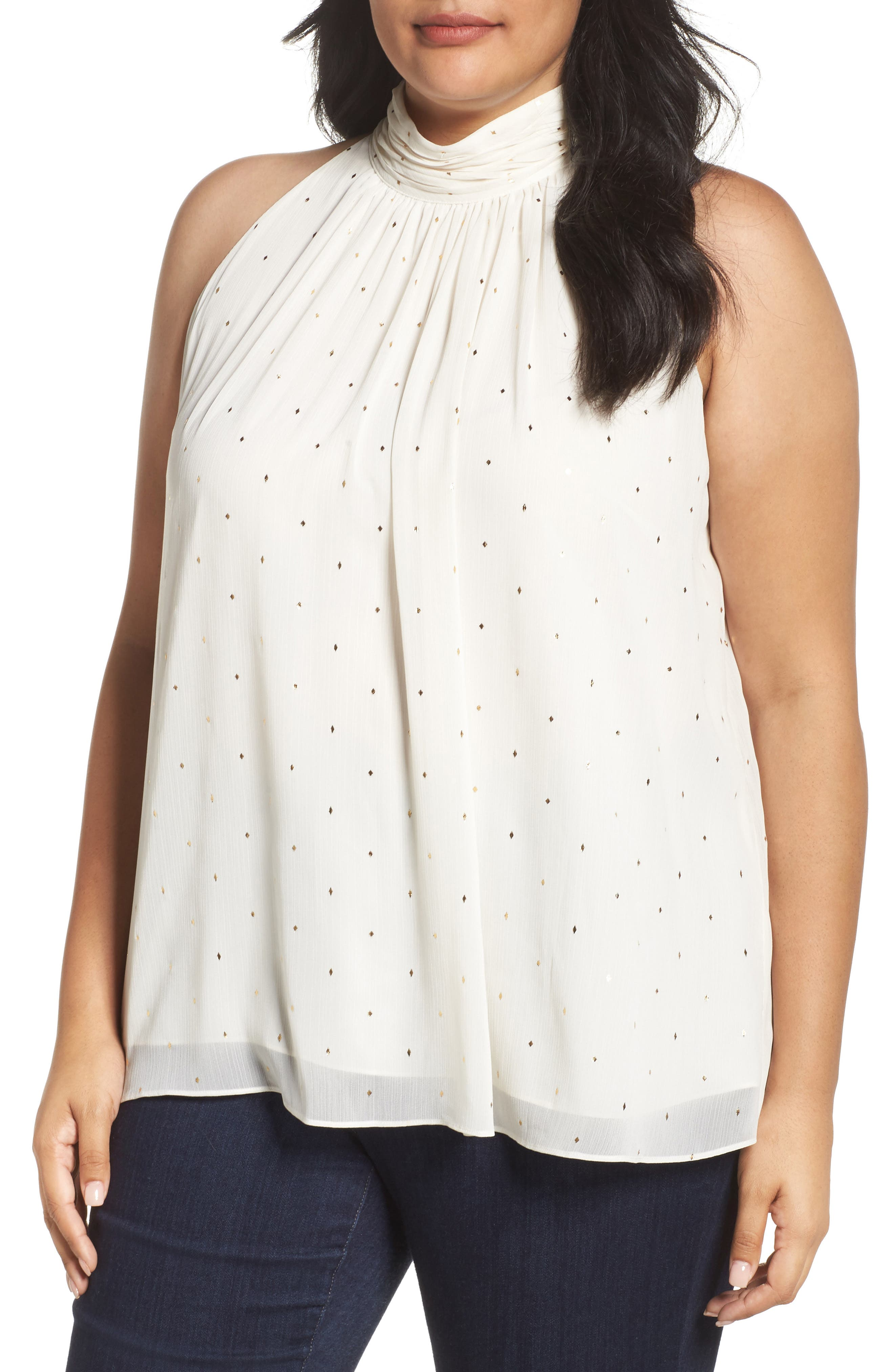Print Shirred Neck Halter Blouse,                         Main,                         color, Pearl Ivory