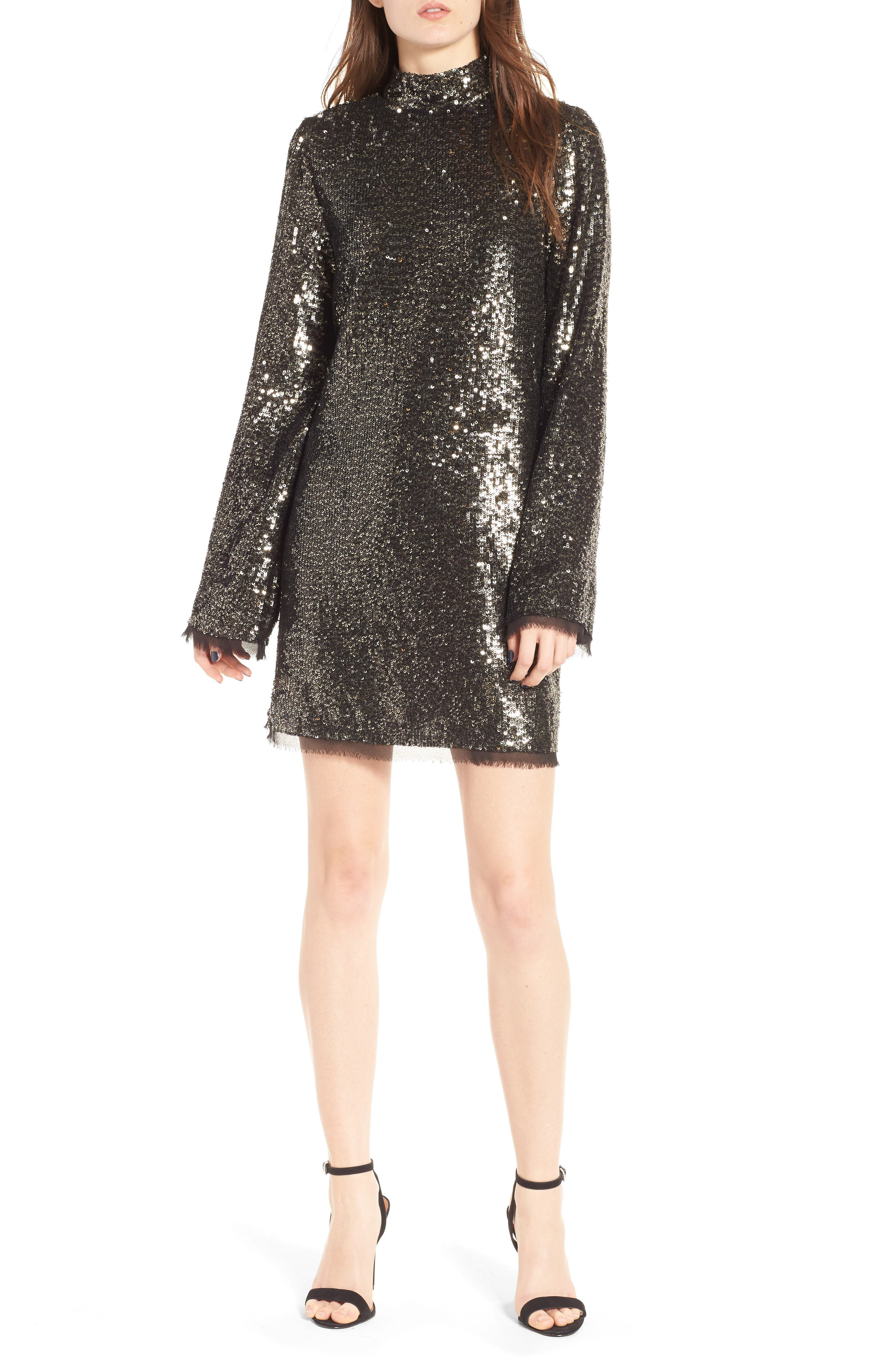 Sequin Shift Dress,                             Main thumbnail 1, color,                             Silver Multi
