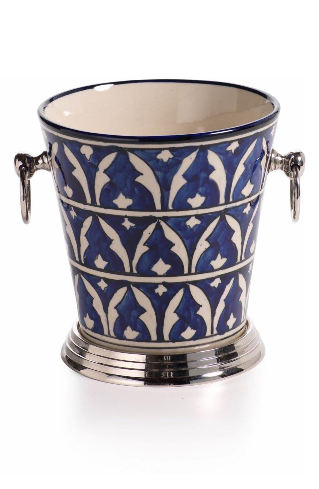 Mazagan Ceramic Ice Bucket,                         Main,                         color, Blue