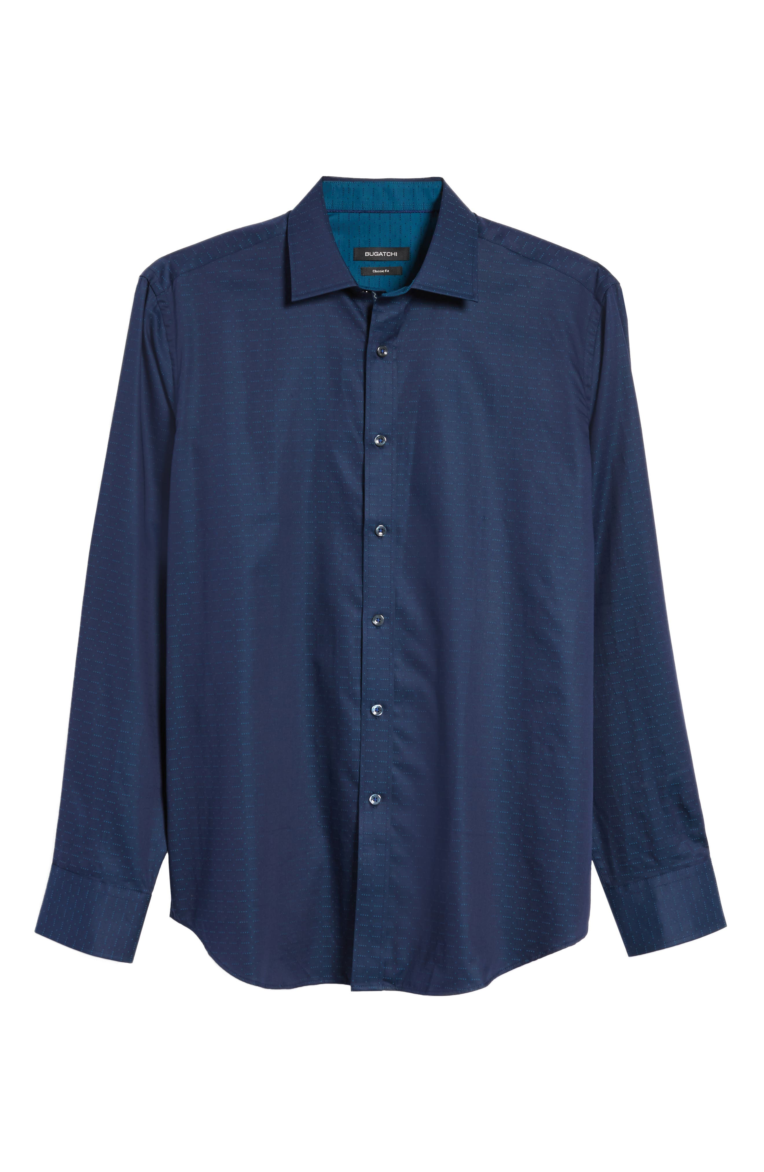 Classic Fit Square Dobby Sport Shirt,                             Alternate thumbnail 6, color,                             Midnight
