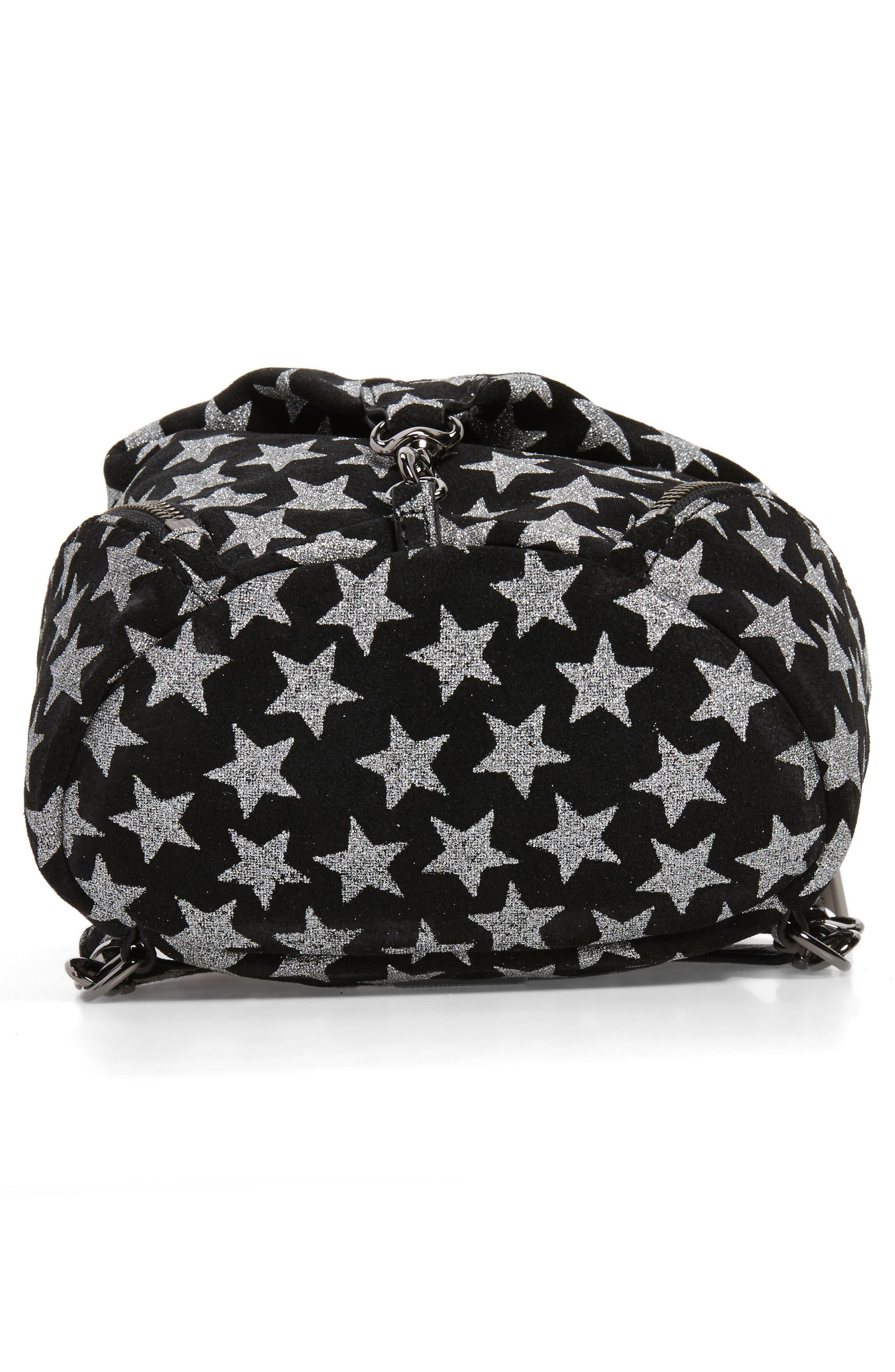 Mini Julian Metallic Star Nubuck Leather Convertible Backpack,                             Alternate thumbnail 6, color,                             Black