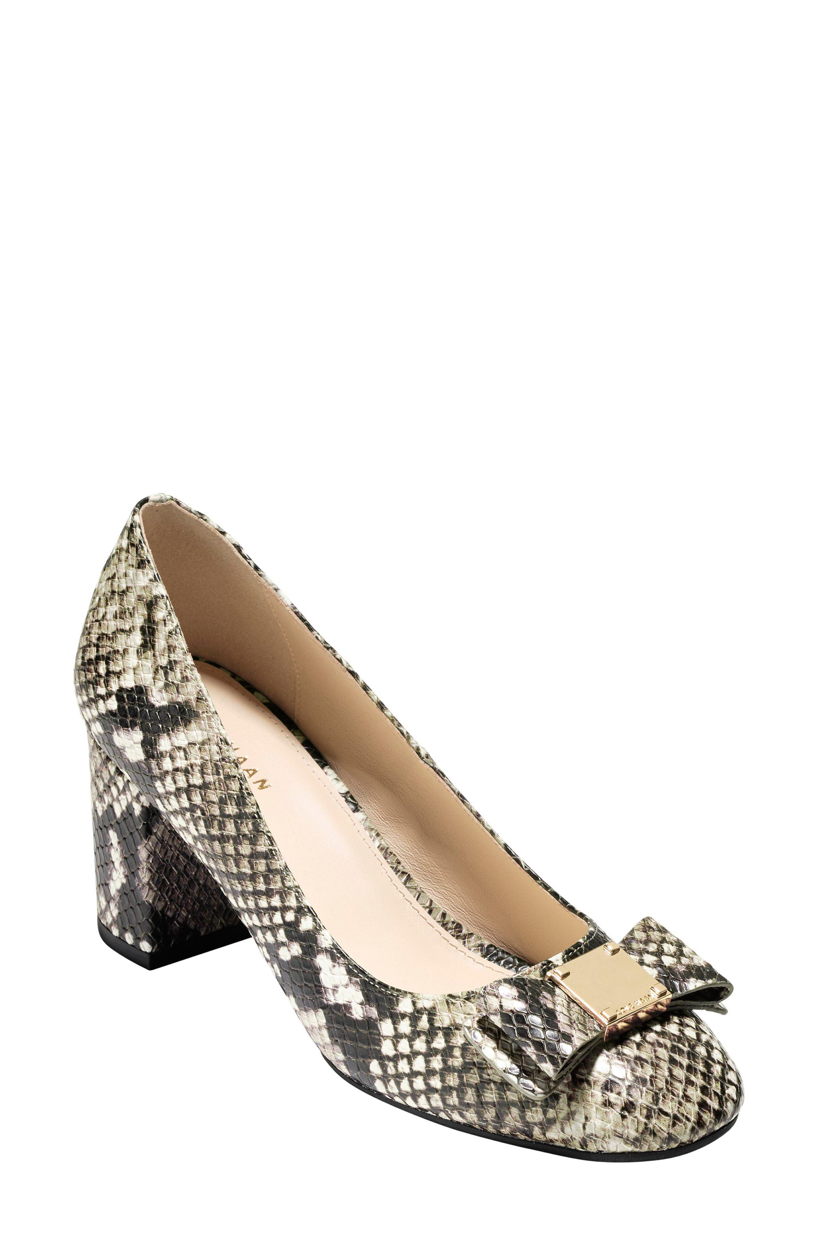 Tali Bow Pump,                             Main thumbnail 1, color,                             Beige Snake Print Leather
