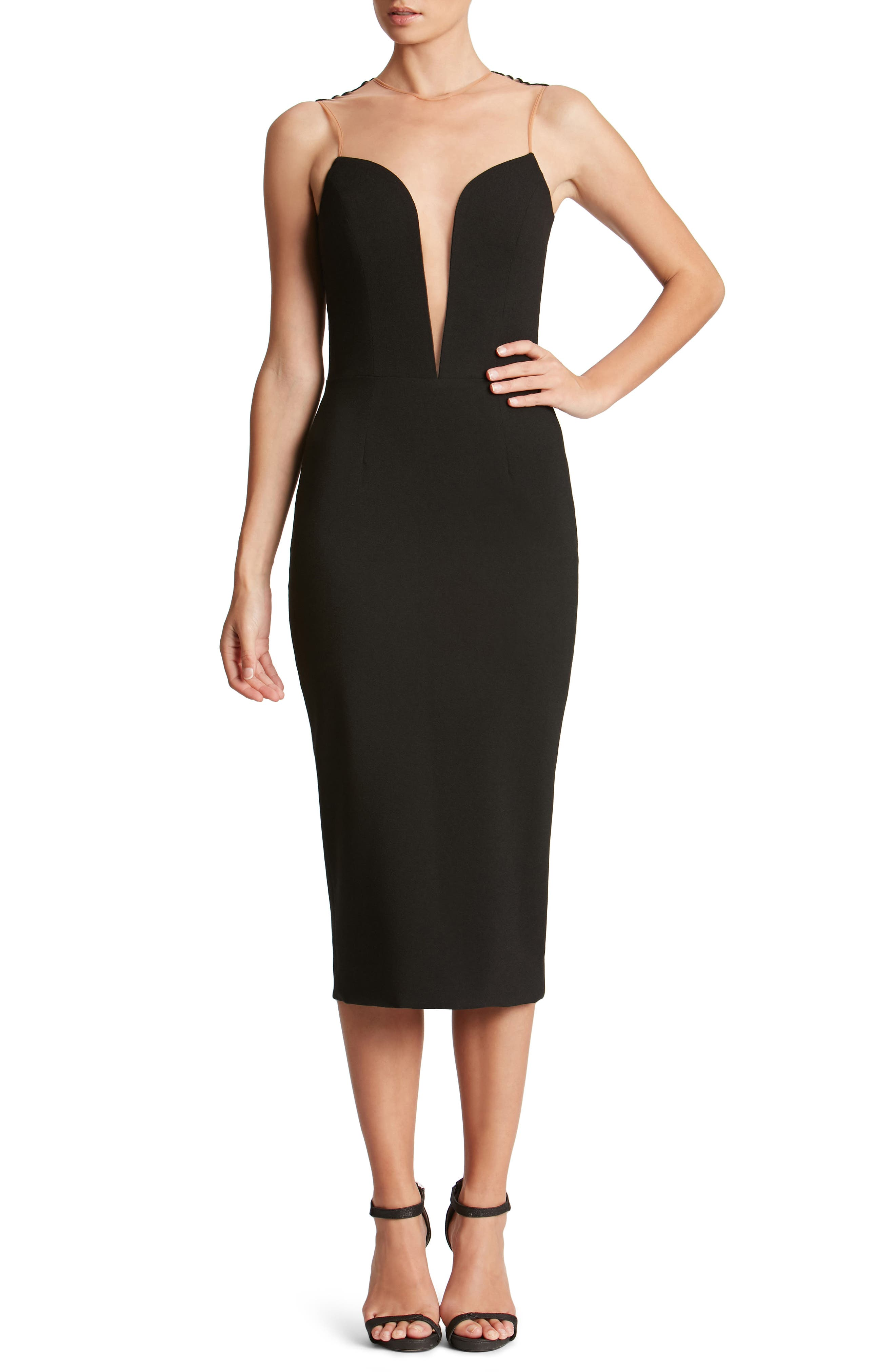 Main Image - Dress the Population Helen Plunge Neck Midi Dress