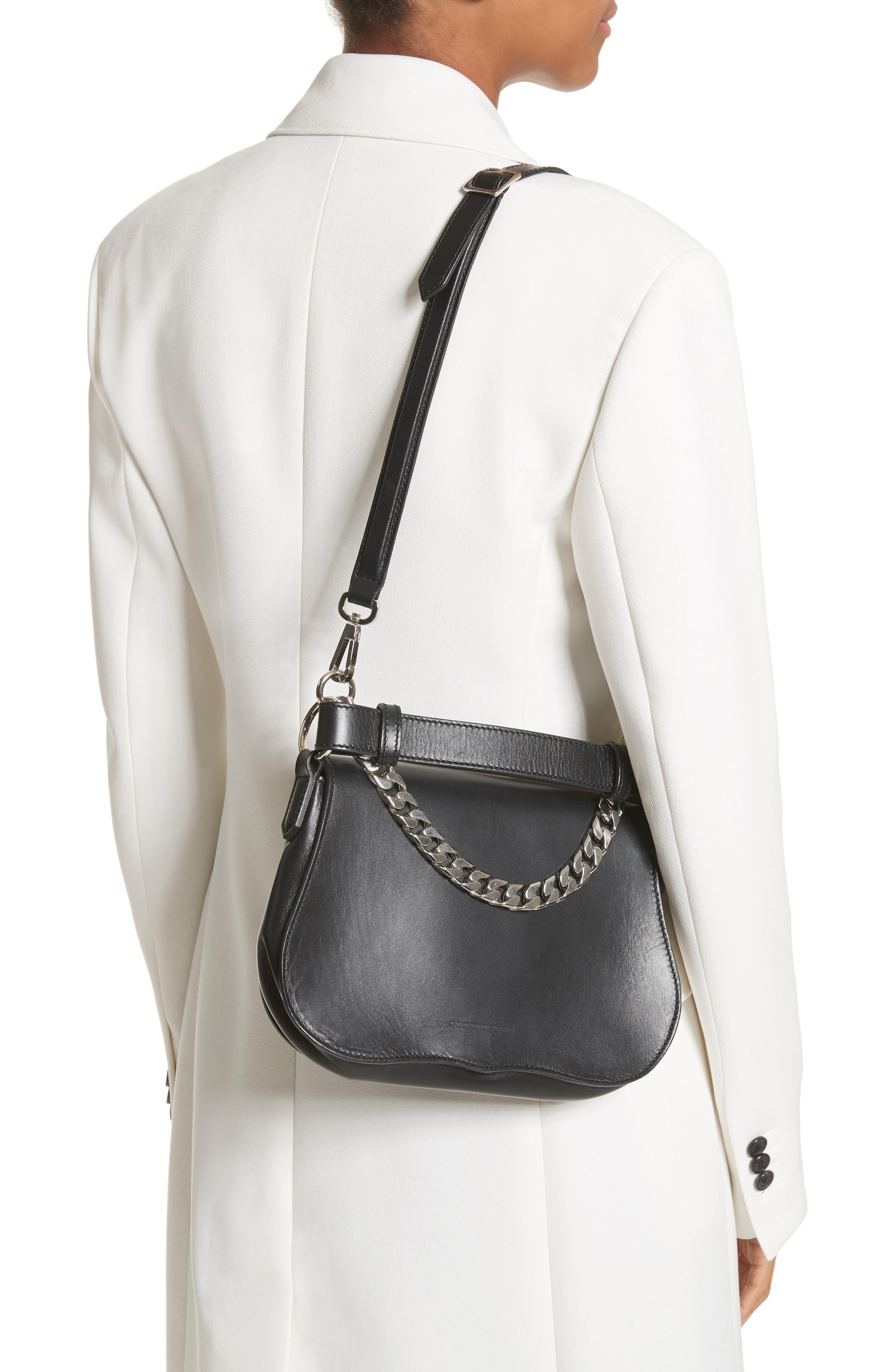 Small Calfskin Shoulder Bag,                             Alternate thumbnail 2, color,                             Black