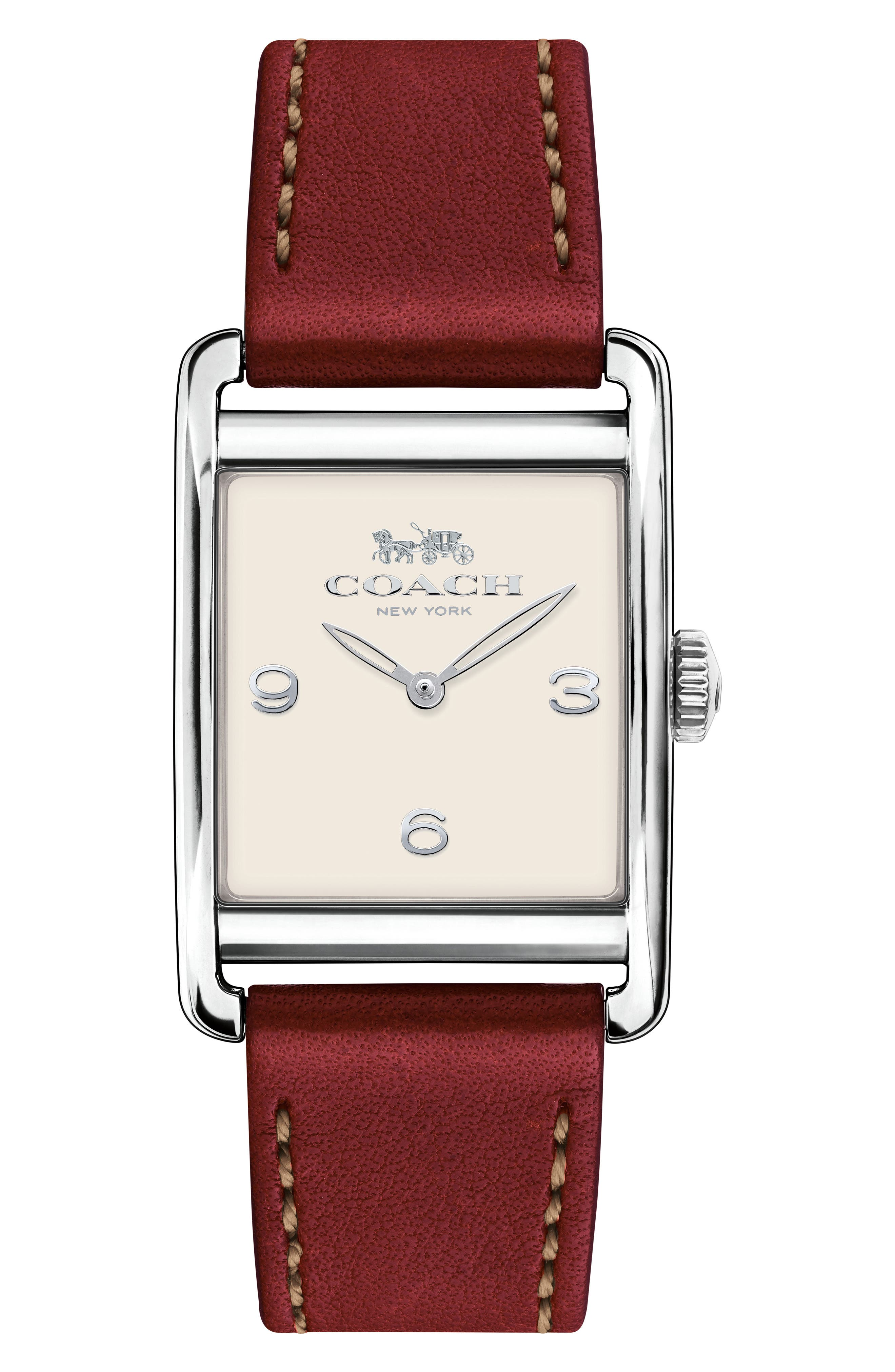 Renwick Leather Strap Tank Watch, 24mm x 35mm,                         Main,                         color, Burgundy/ White/ Silver