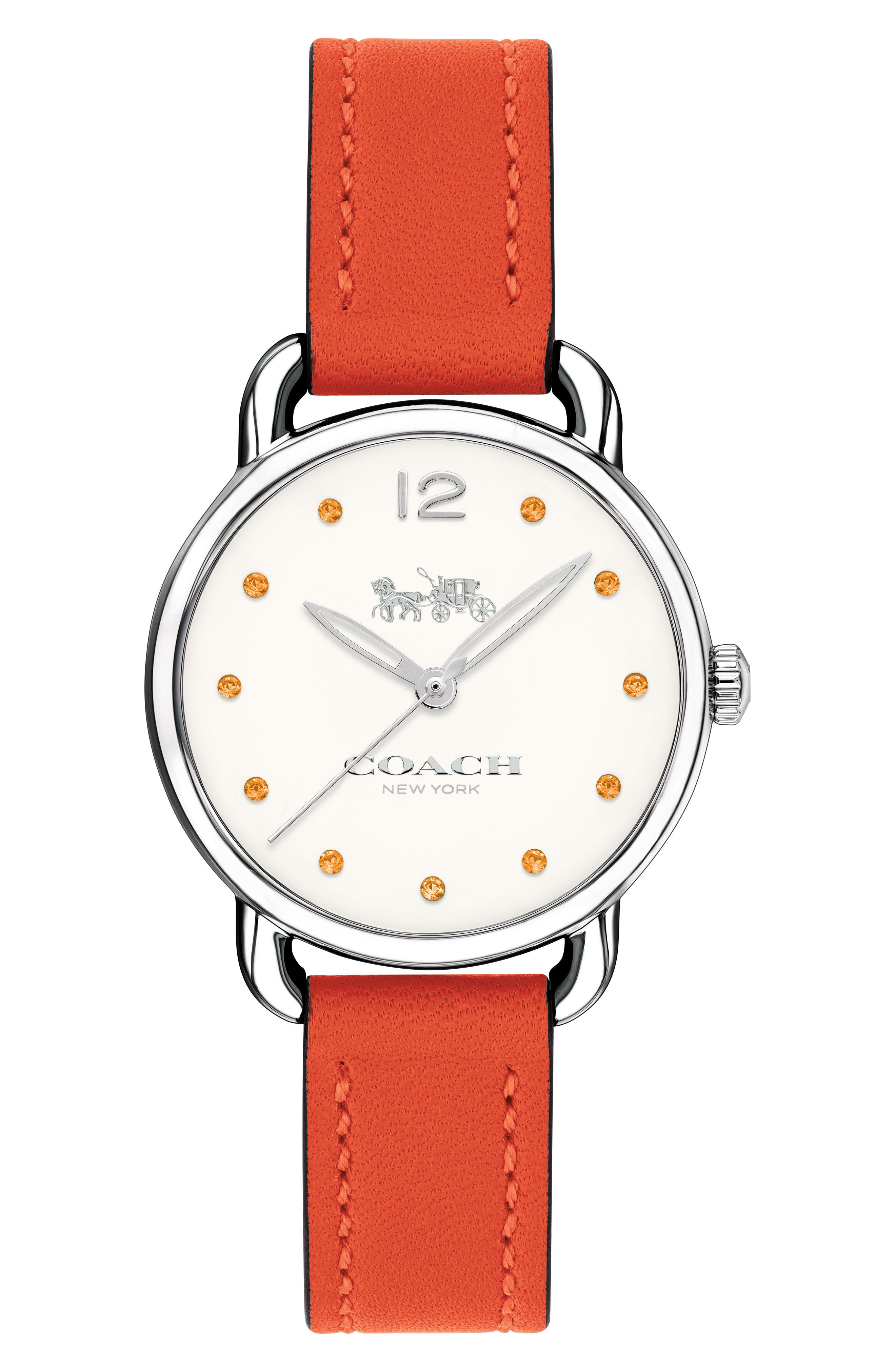Delancey Crystal Accent Leather Strap Watch, 28mm,                         Main,                         color, Orange/ White/ Silver