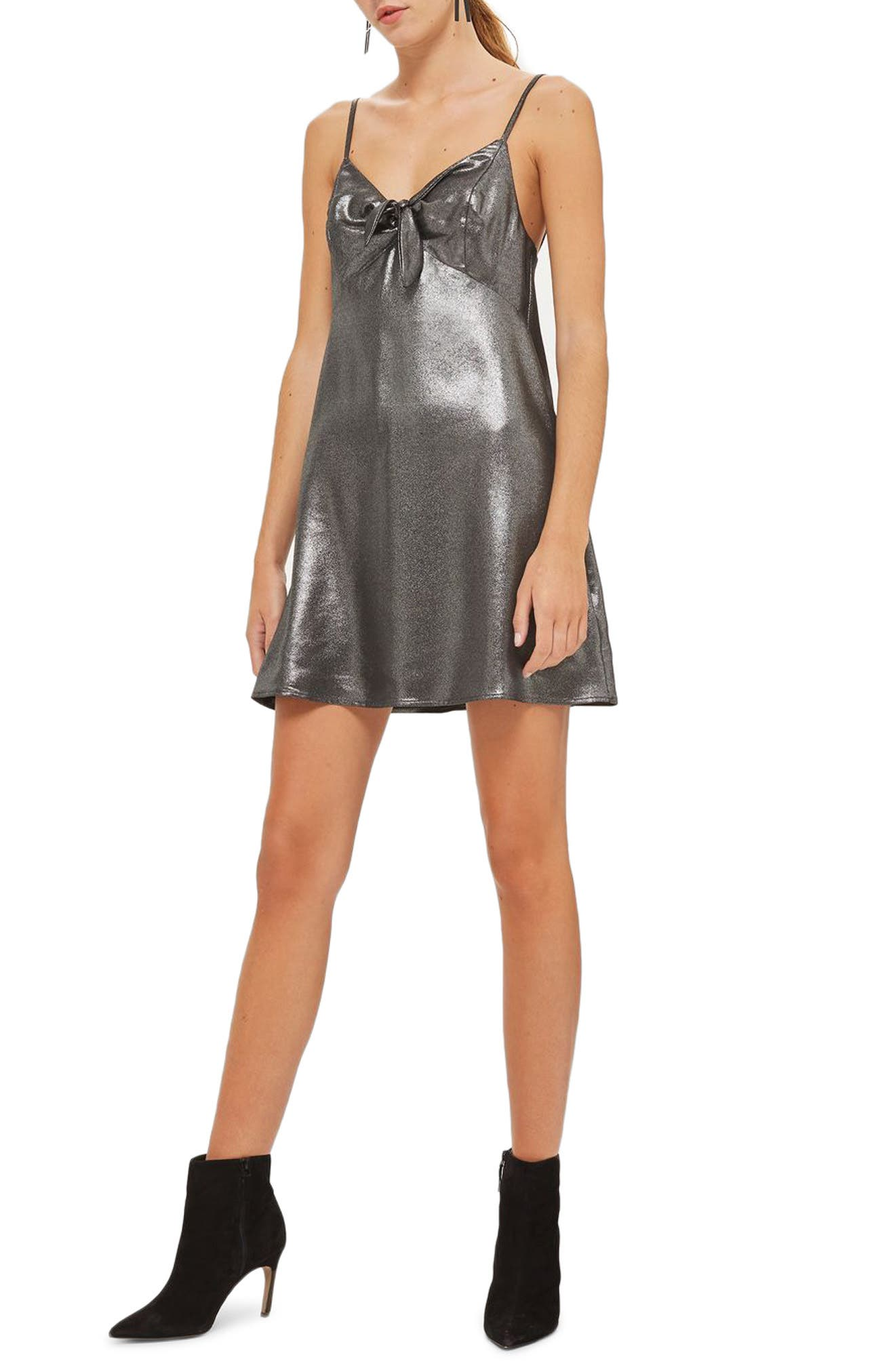 Tie Front Metallic Slipdress,                         Main,                         color, Silver