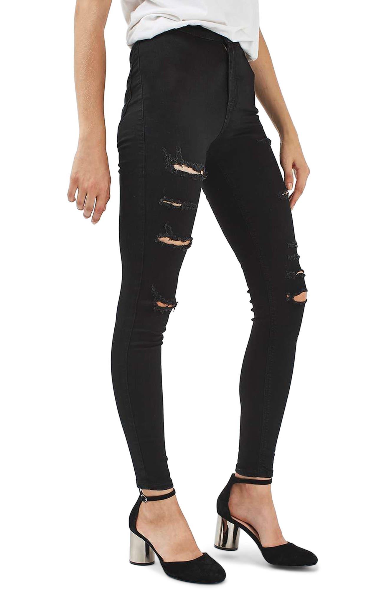 Joni Super Rip Crop Skinny Jeans,                             Main thumbnail 1, color,                             Black