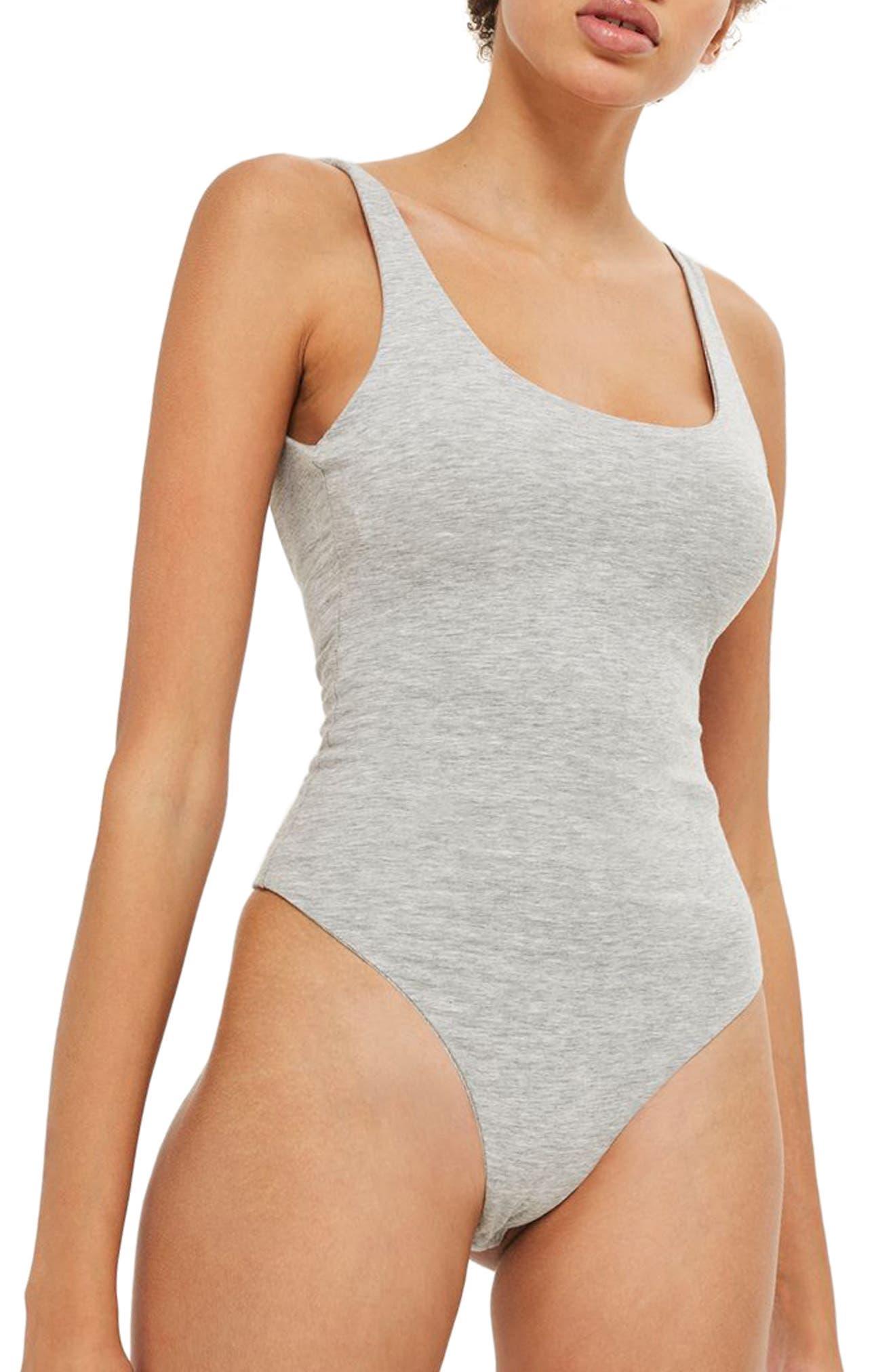 Scoop Back Thong Bodysuit,                         Main,                         color, Grey