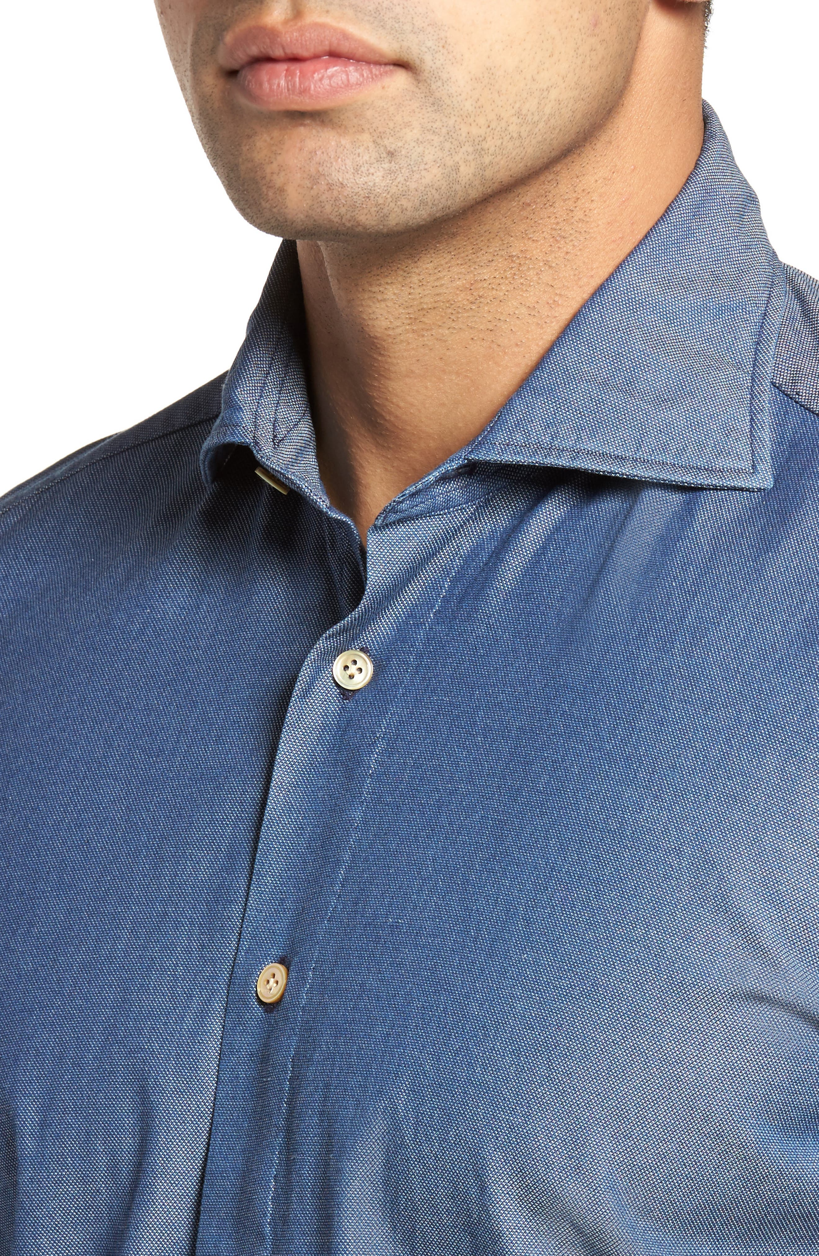 Classic Fit Bird's Eye Sport Shirt,                             Alternate thumbnail 4, color,                             Navy