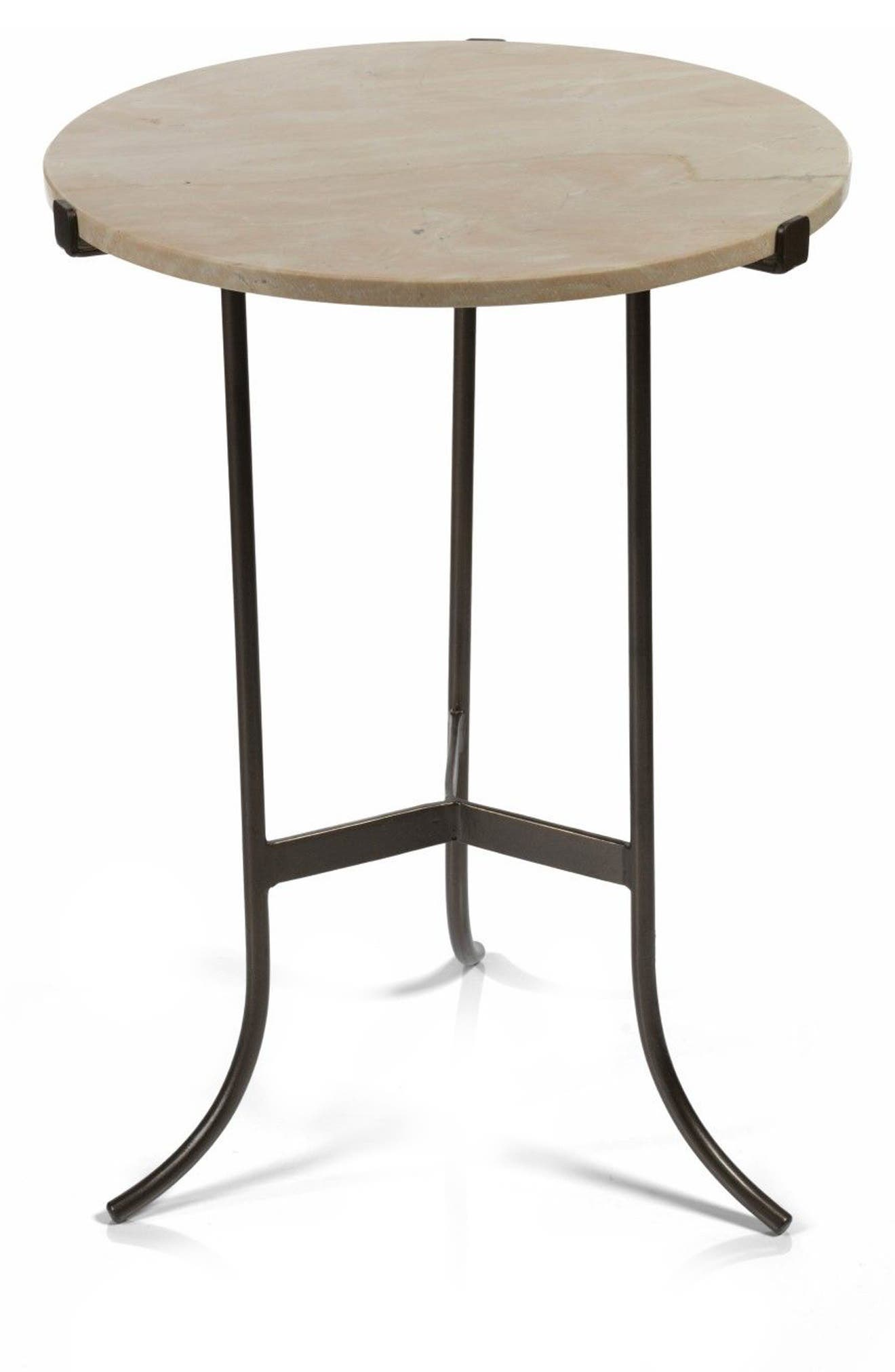 Mimouna Marble Top Indoor/Outdoor Side Table,                             Main thumbnail 1, color,                             Beige