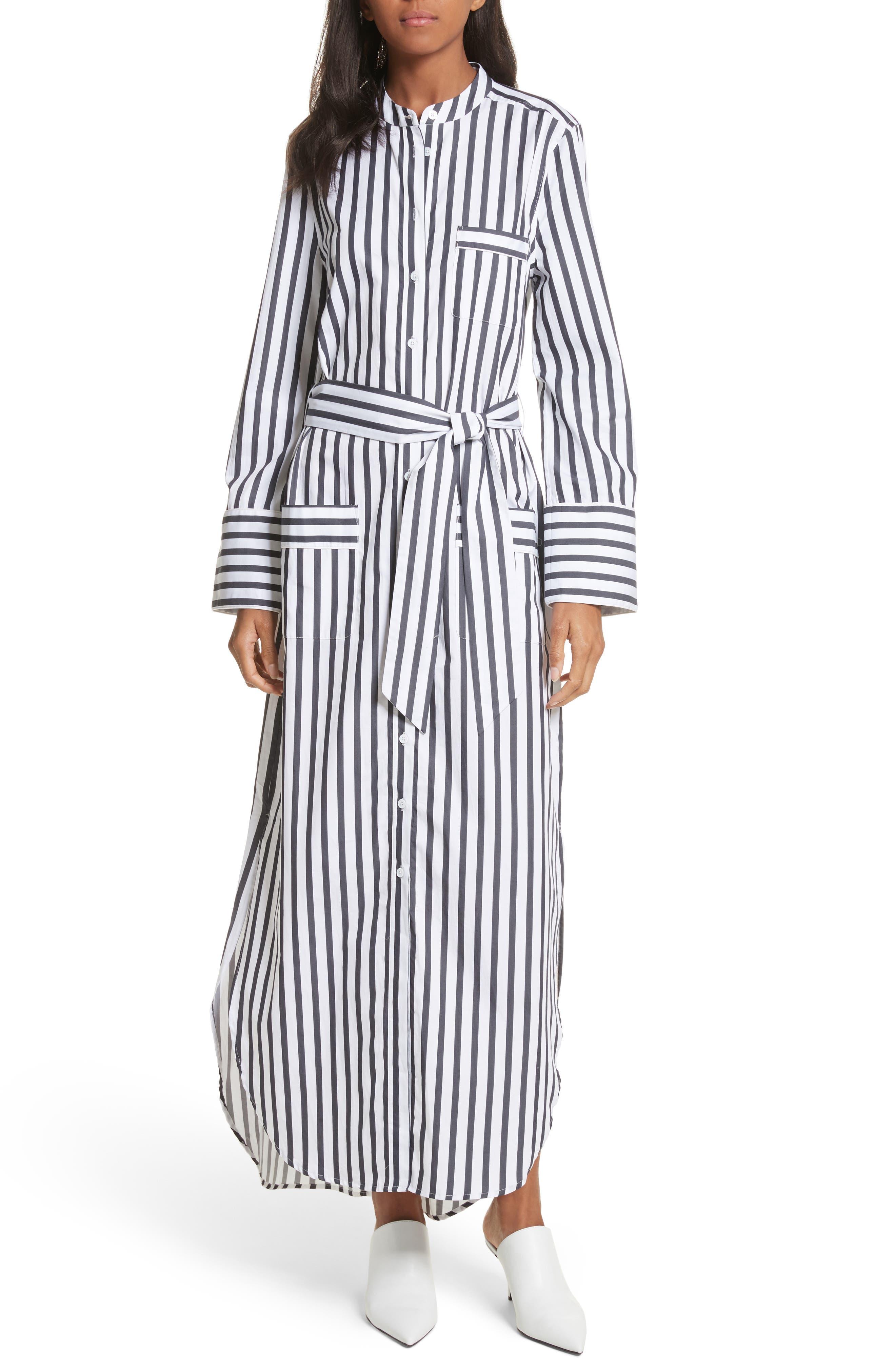 Britten Stripe Cotton Maxi Dress,                         Main,                         color, Bright White/ Eclipse
