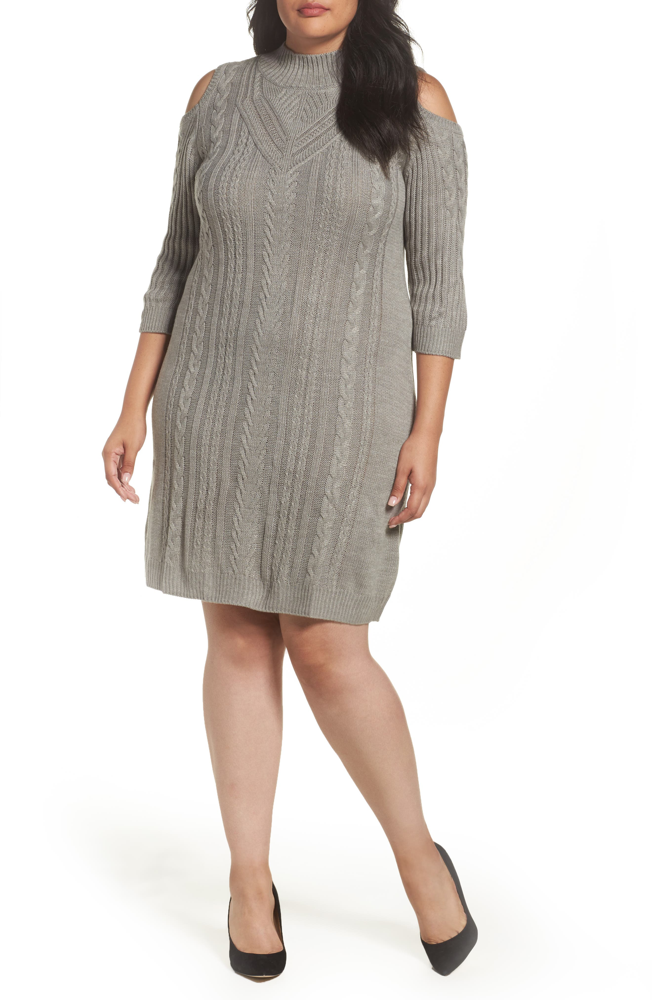 Alternate Image 1 Selected - Eliza J Cold Shoulder Cable Sweater Dress (Plus Size)