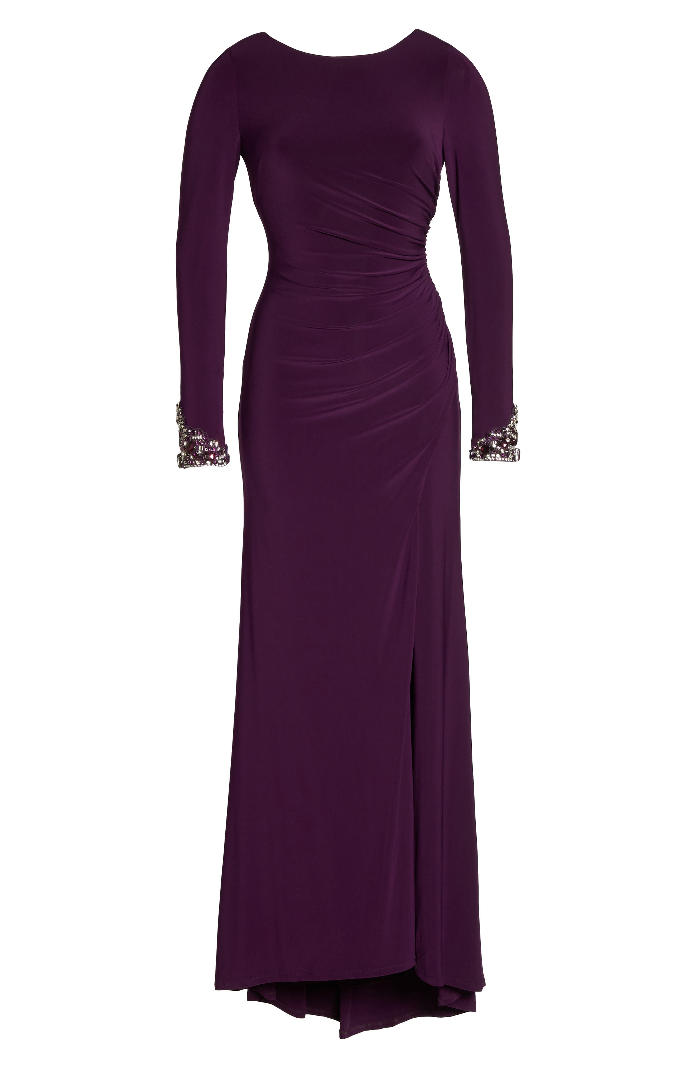 Beaded Sleeve Ruched Jersey Gown,                             Alternate thumbnail 6, color,                             Plum