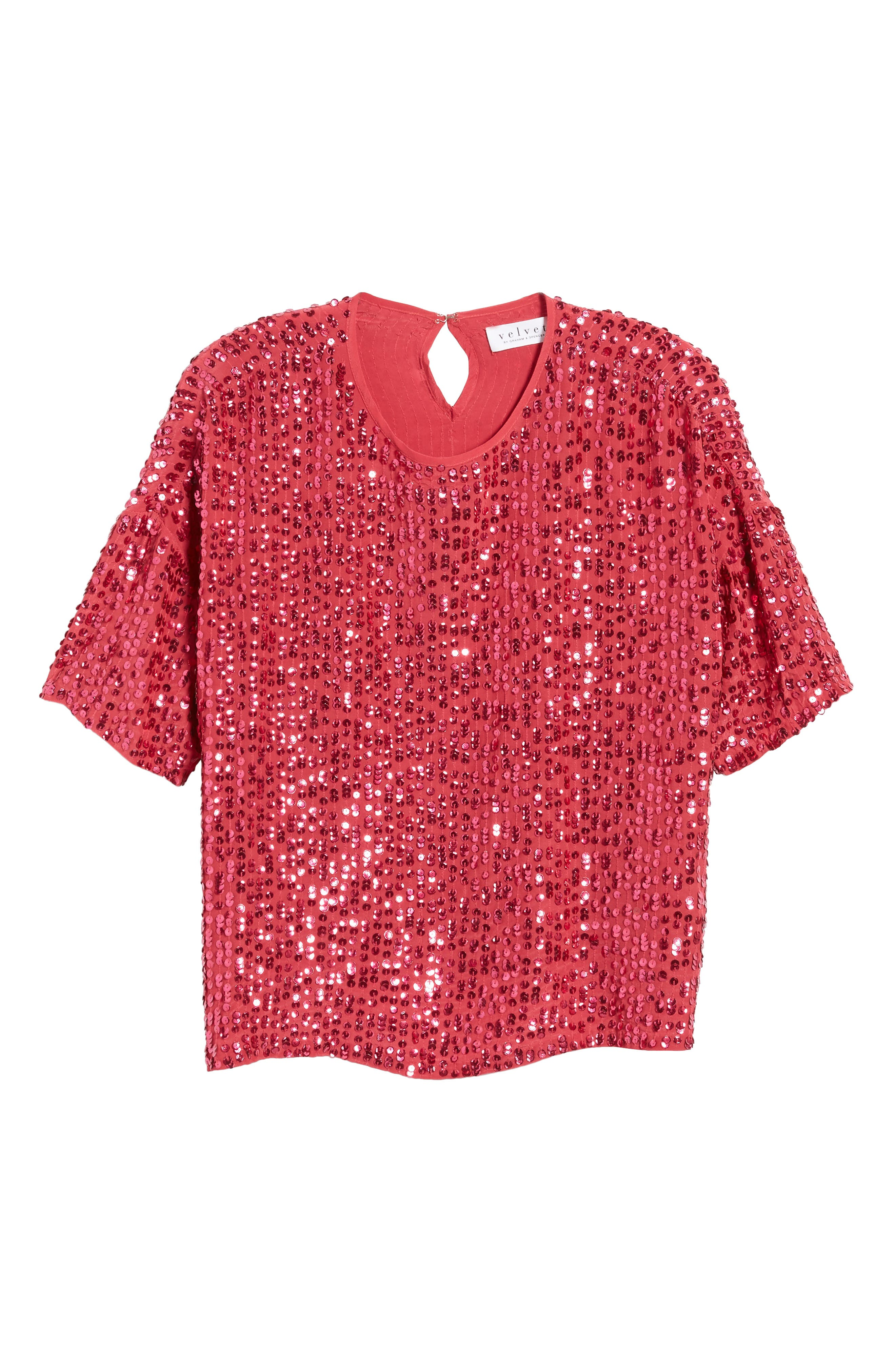 Short Sleeve Sequin Top,                             Alternate thumbnail 6, color,                             Hot Pink