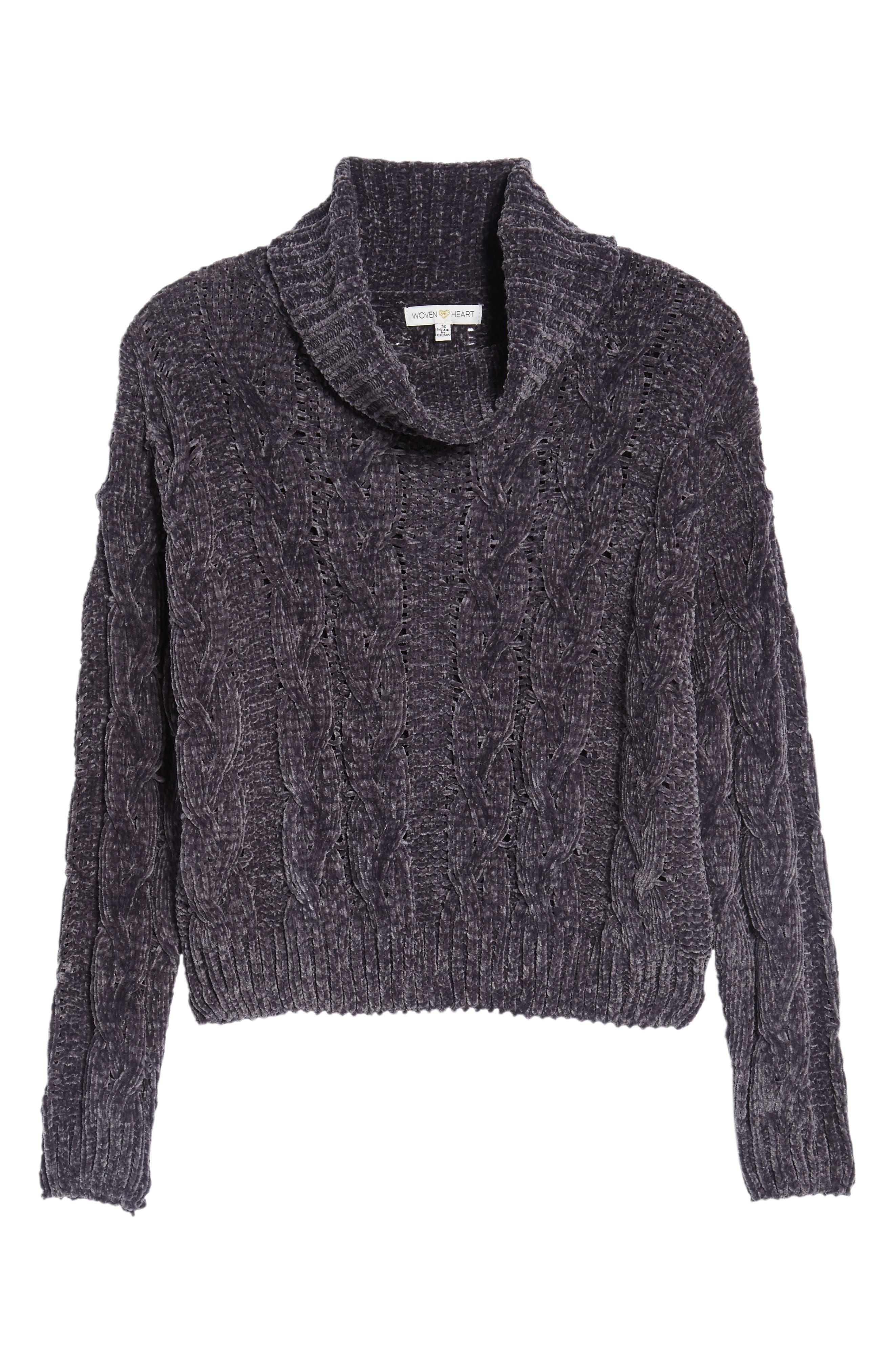 Alternate Image 6  - Woven Heart Chenille Turtleneck Sweater