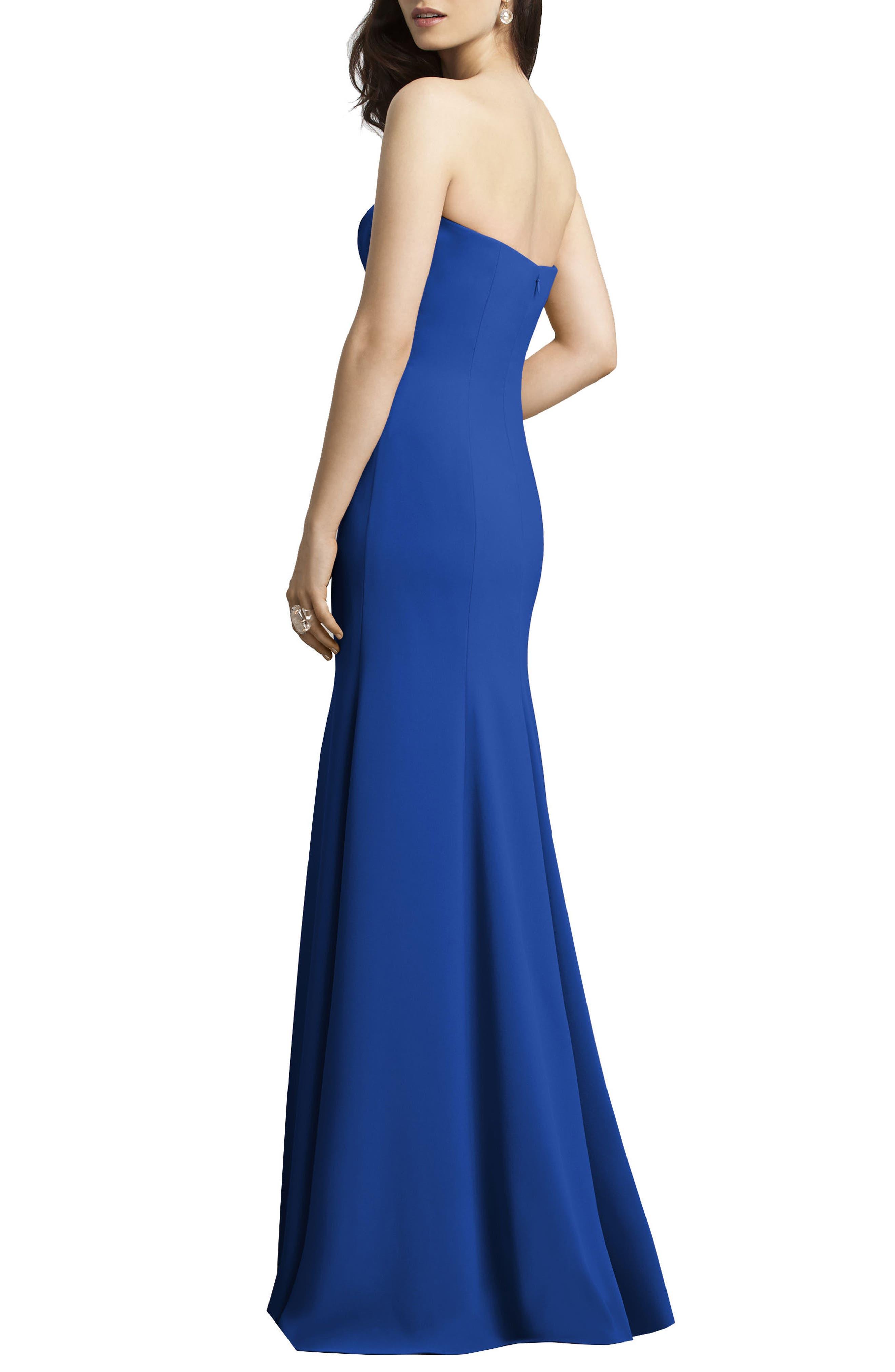 Strapless Crepe Trumpet Gown,                             Alternate thumbnail 2, color,                             Sapphire