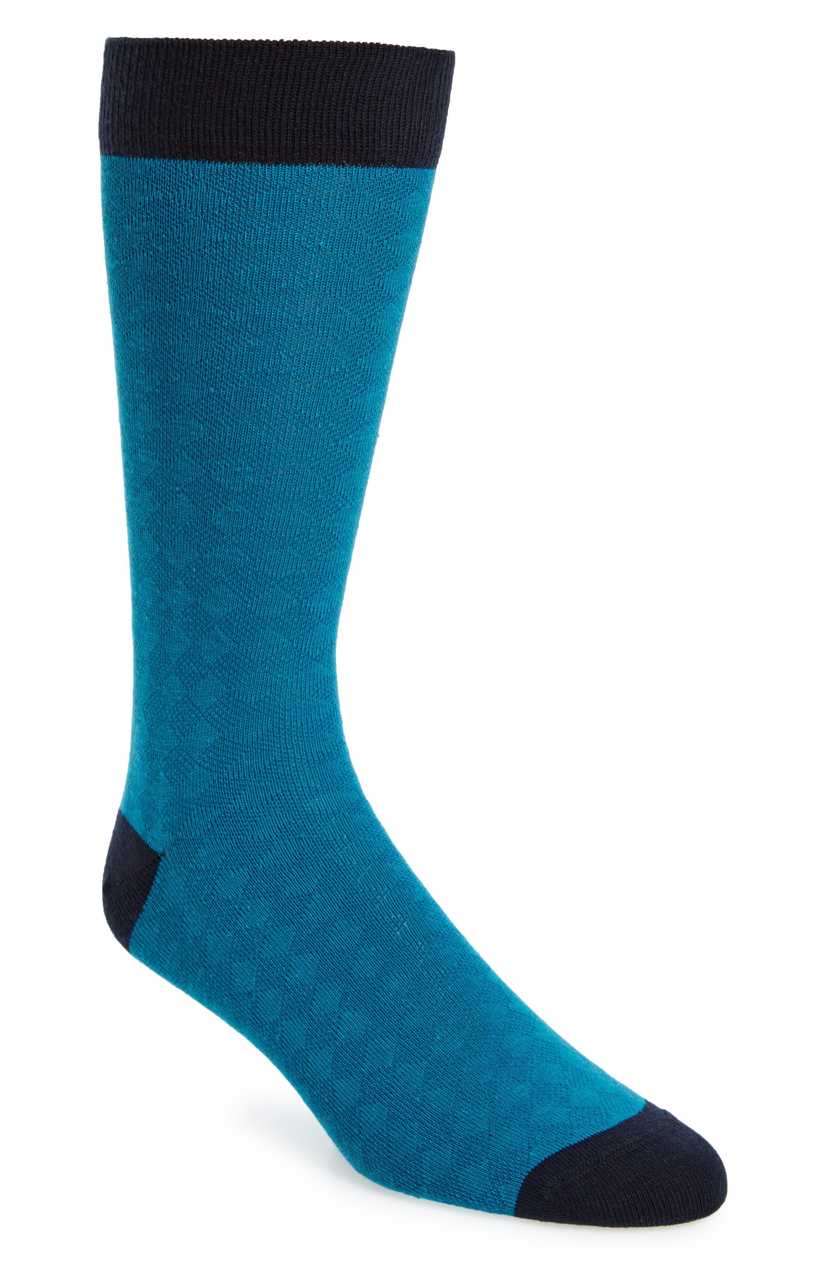 Oakwood Geometric Socks,                         Main,                         color, Teal
