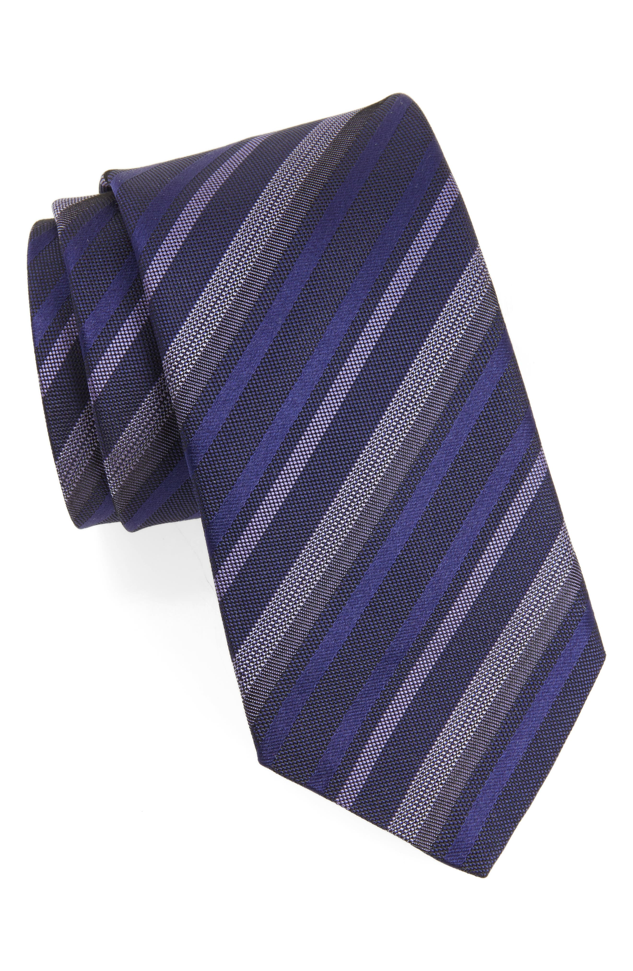 Stripe Silk Tie,                         Main,                         color, Regal Purple