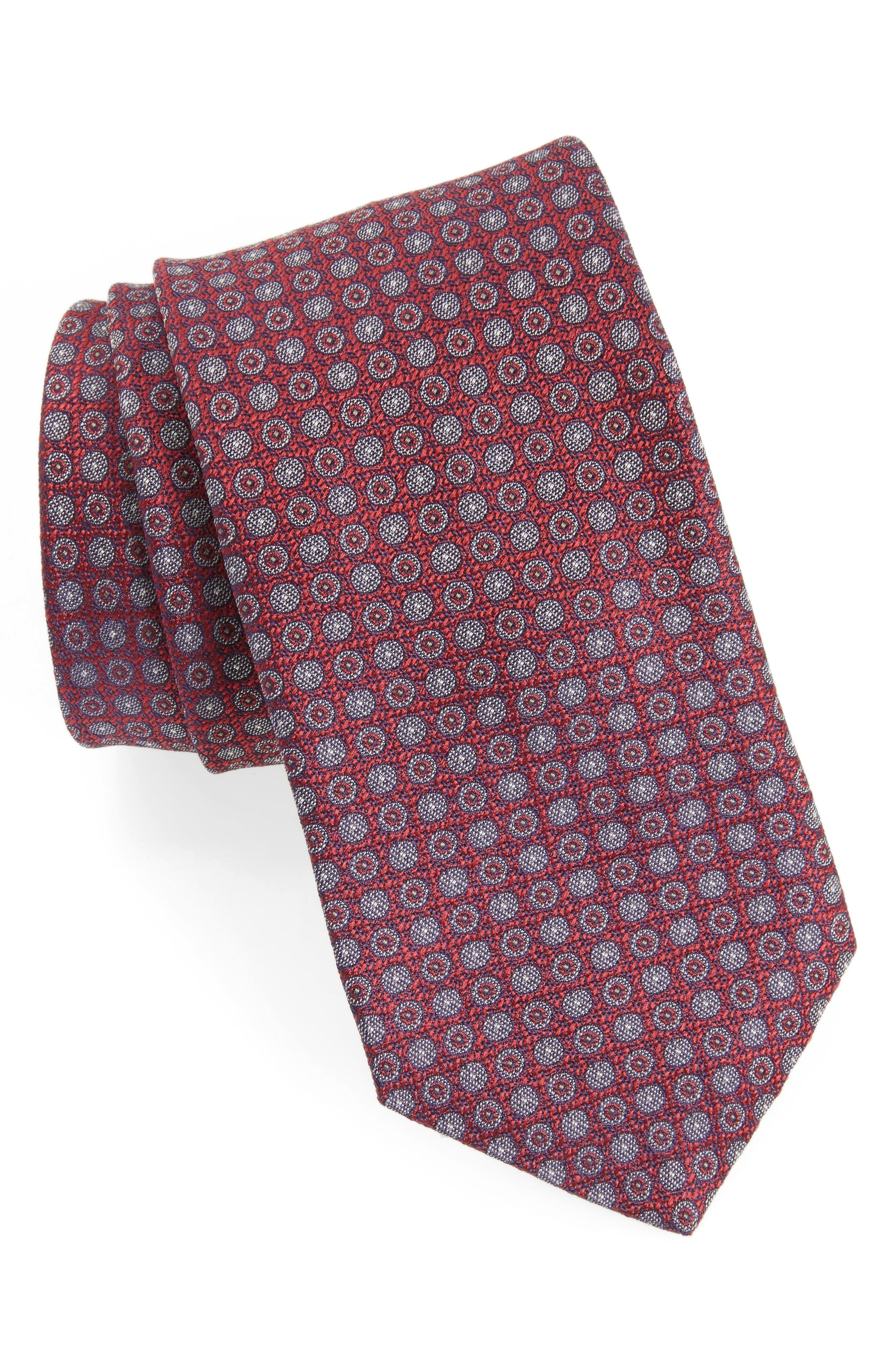 Geometric Silk Tie,                             Main thumbnail 1, color,                             Cranberry
