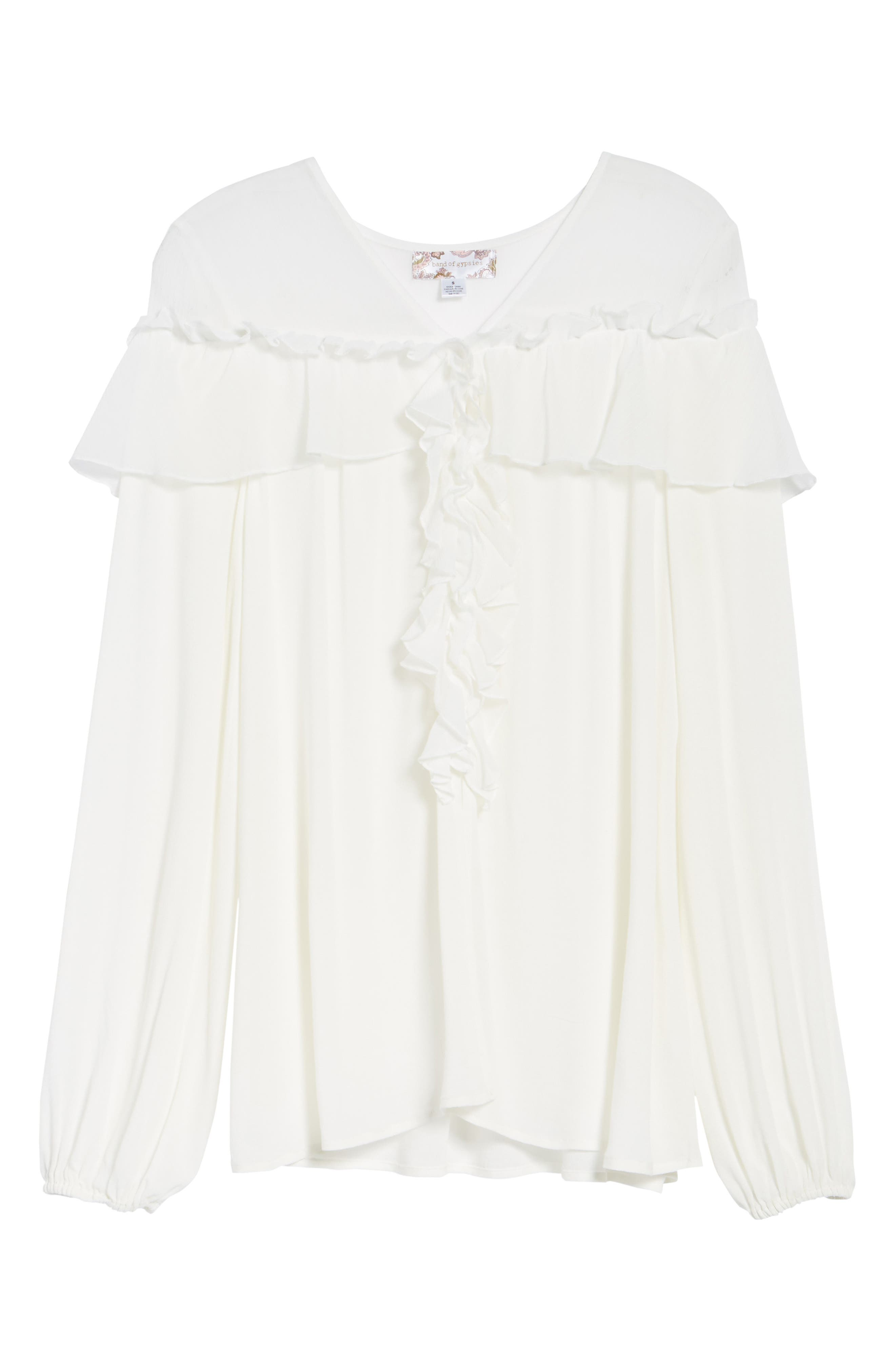 Crepe Ruffle Blouse,                             Alternate thumbnail 6, color,                             Ivory