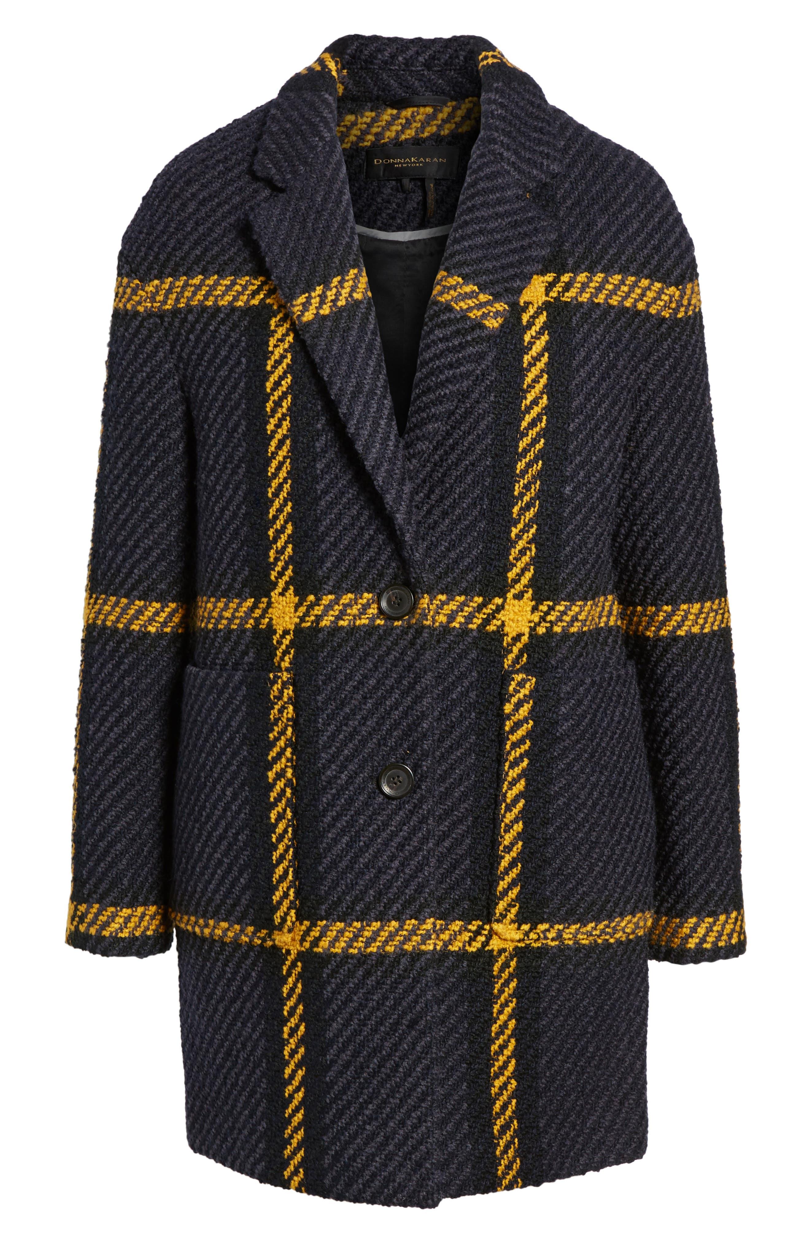 Alternate Image 5  - DKNY Textured Plaid Wool Blend Coat
