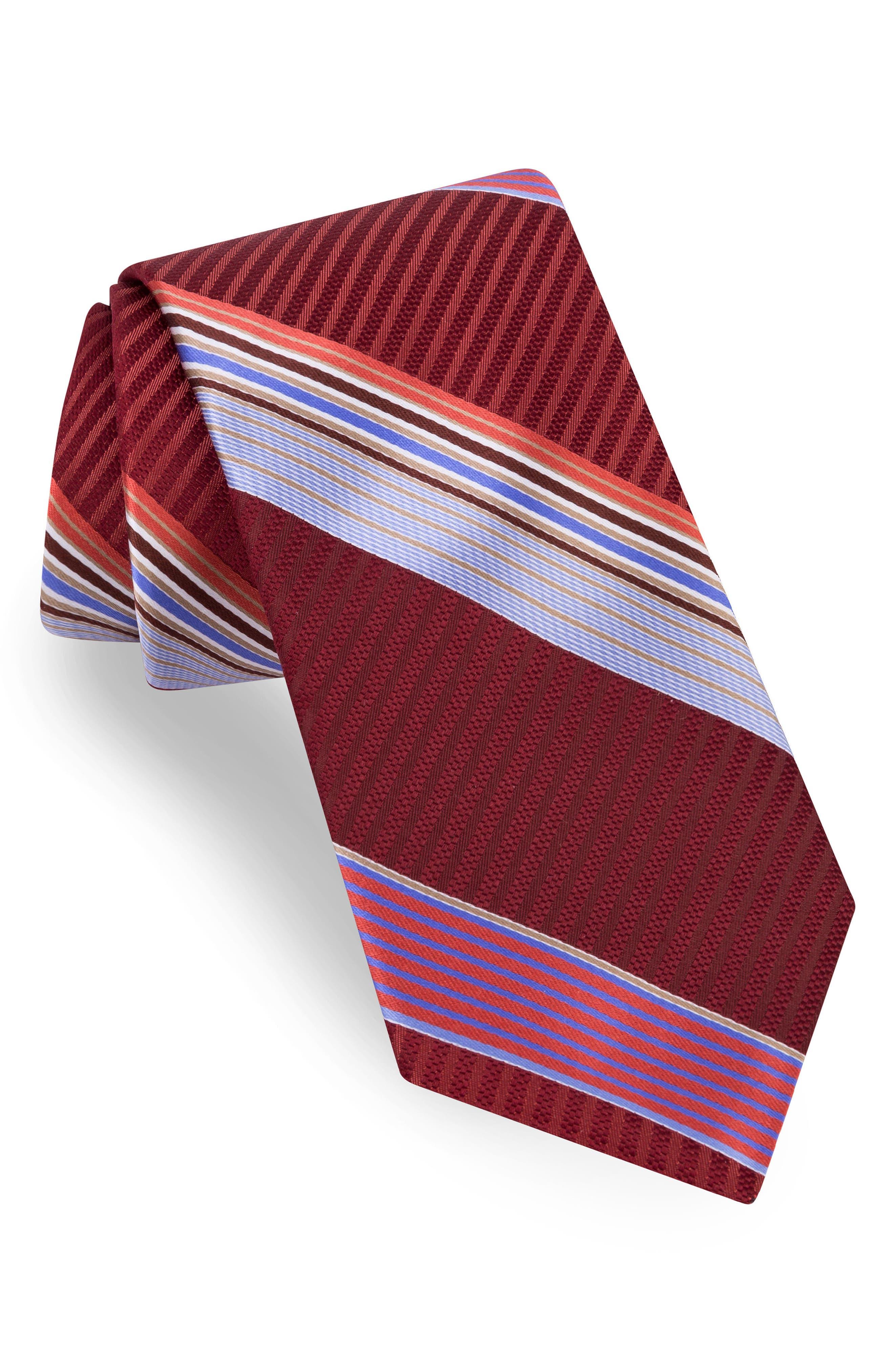 Aventura Stripe Silk Tie,                         Main,                         color, Wine